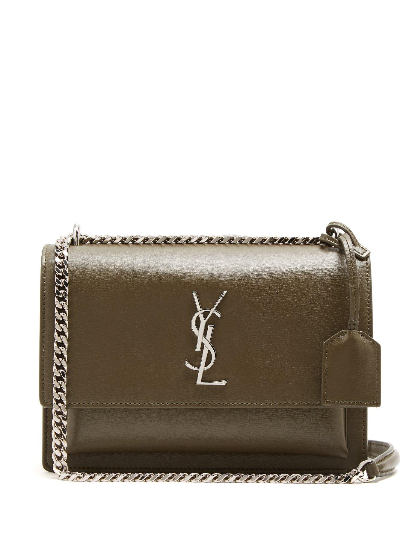 Lyst - Saint Laurent Sunset Medium Leather Cross Body Bag in Natural 25770e7a1ce20