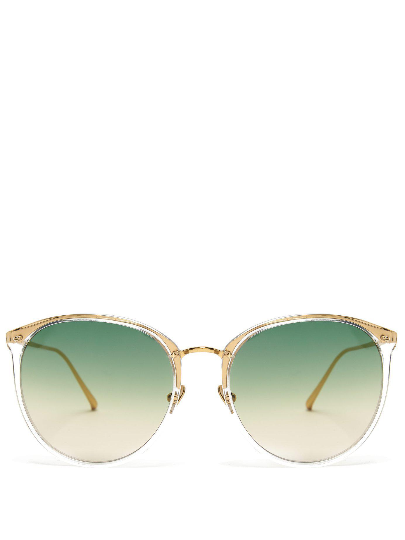 449881c07ab1 Lyst - Linda Farrow Round Titanium Sunglasses in Green