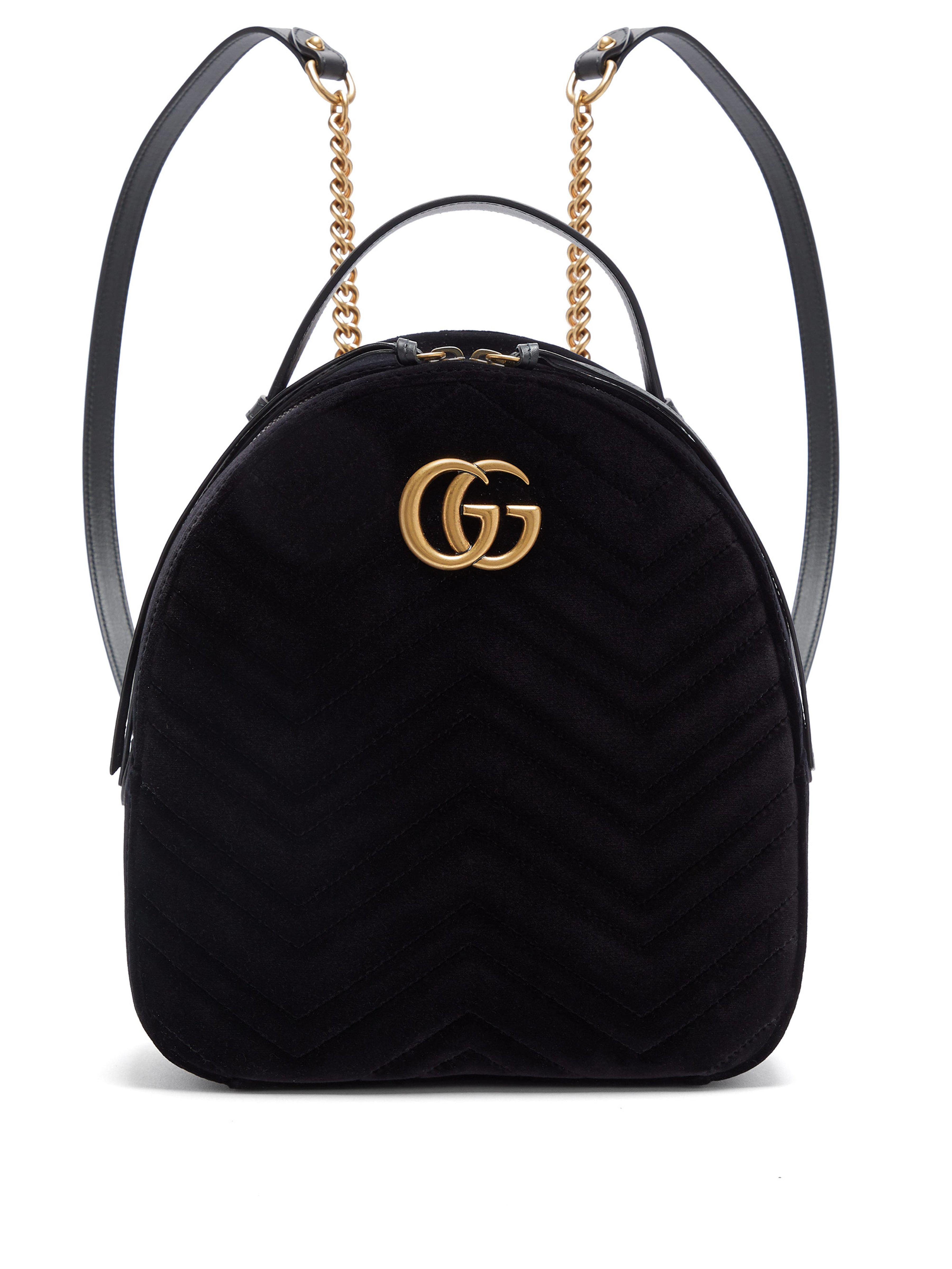 5d18d1fa2079 Gucci Gg Marmont Velvet Backpack in Black - Lyst