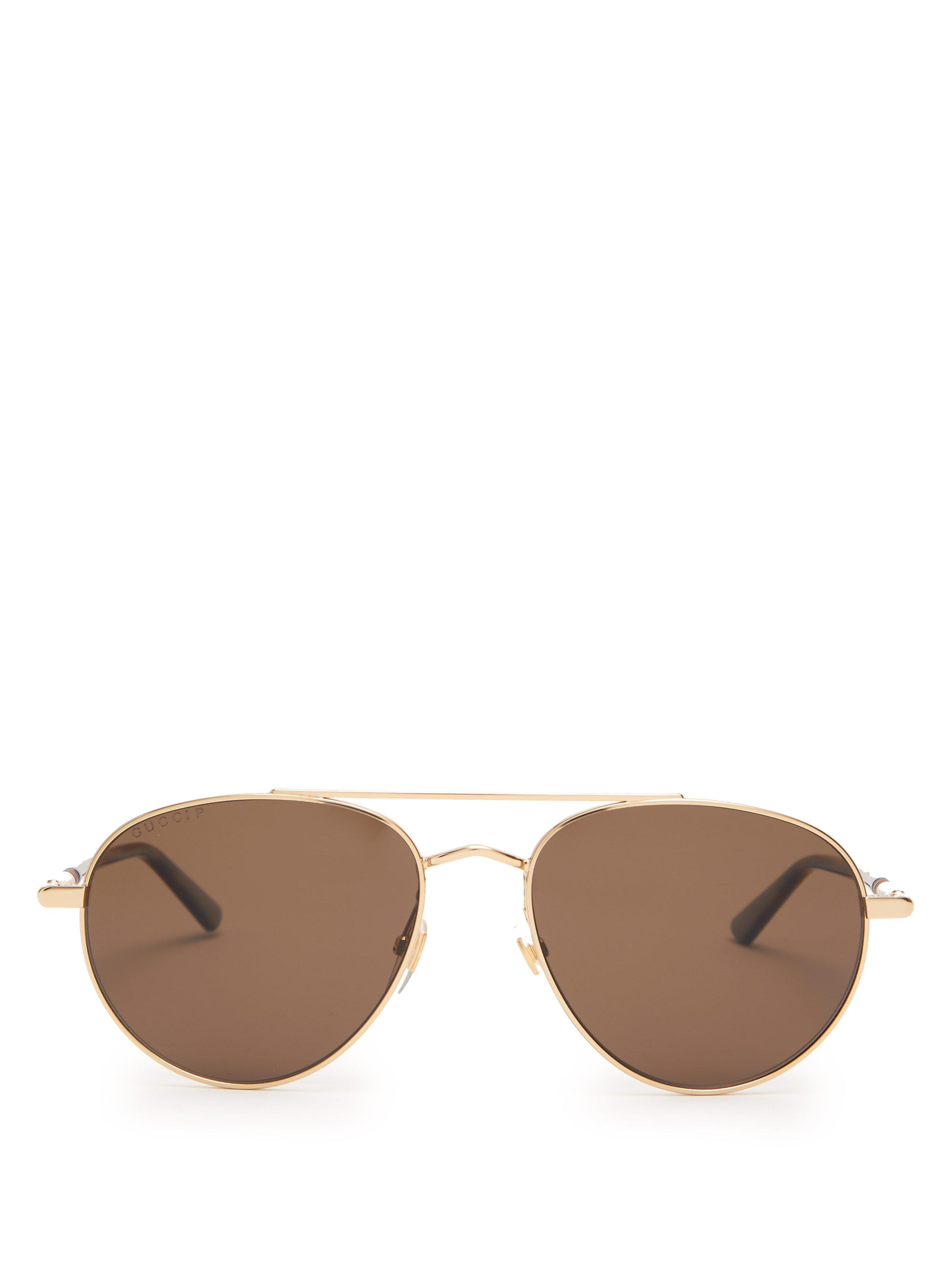 bb46f9bd2b78 Gucci Web Stripe Aviator Metal Sunglasses in Metallic for Men - Lyst