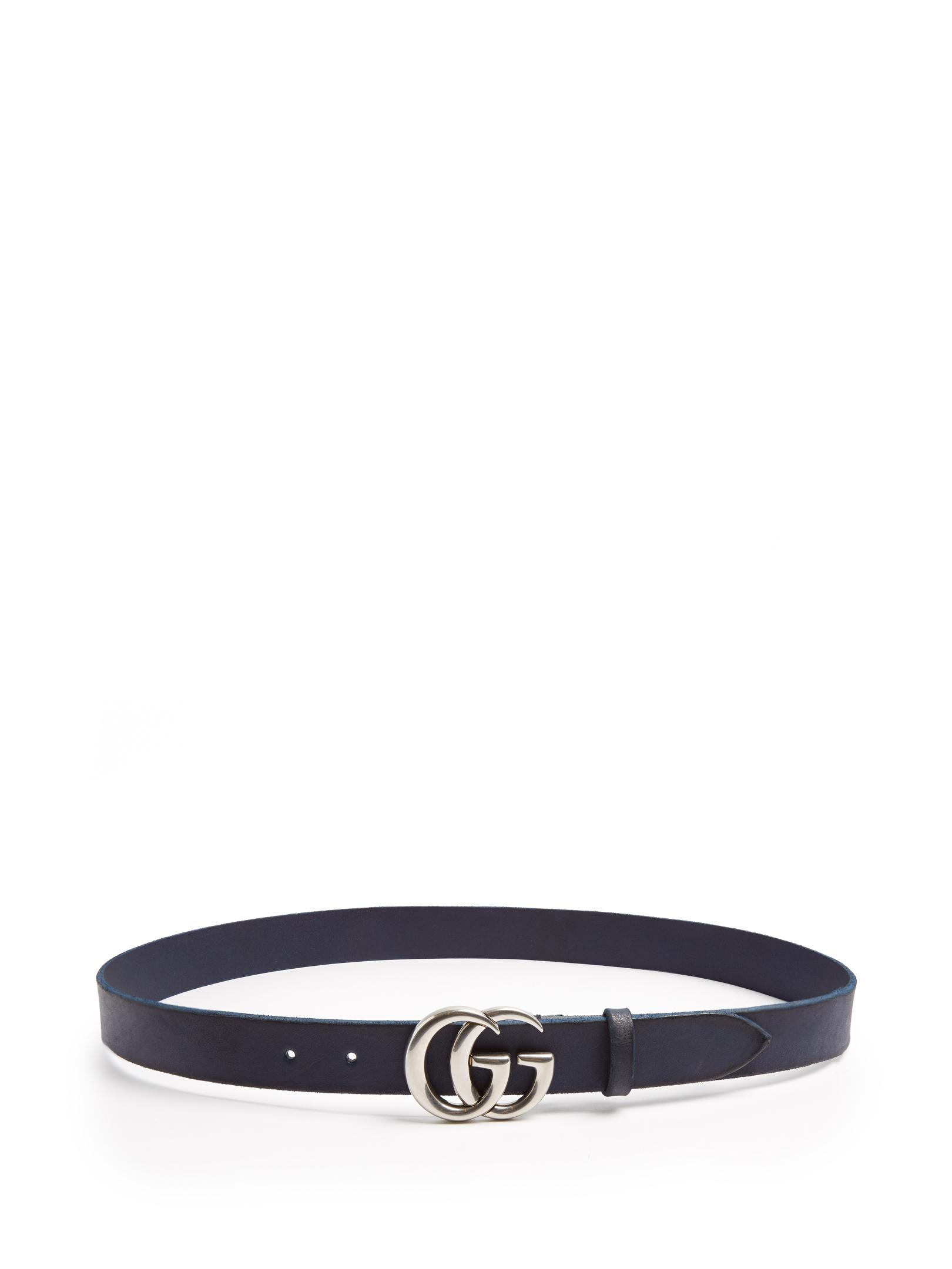 10b3d8518a0 Lyst - Gucci Gg Marmont Leather Belt in Blue for Men