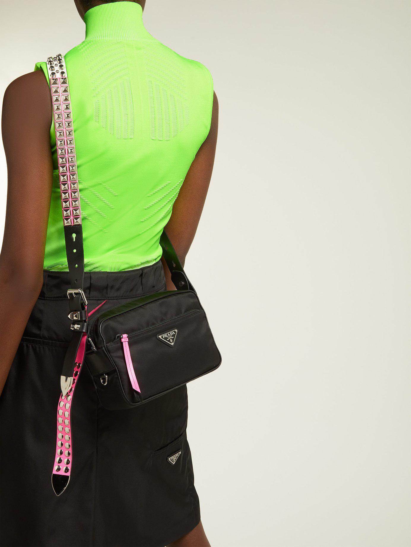d7fdb7fb8e0d89 Prada New Vela Studded Nylon Shoulder Bag in Black - Lyst