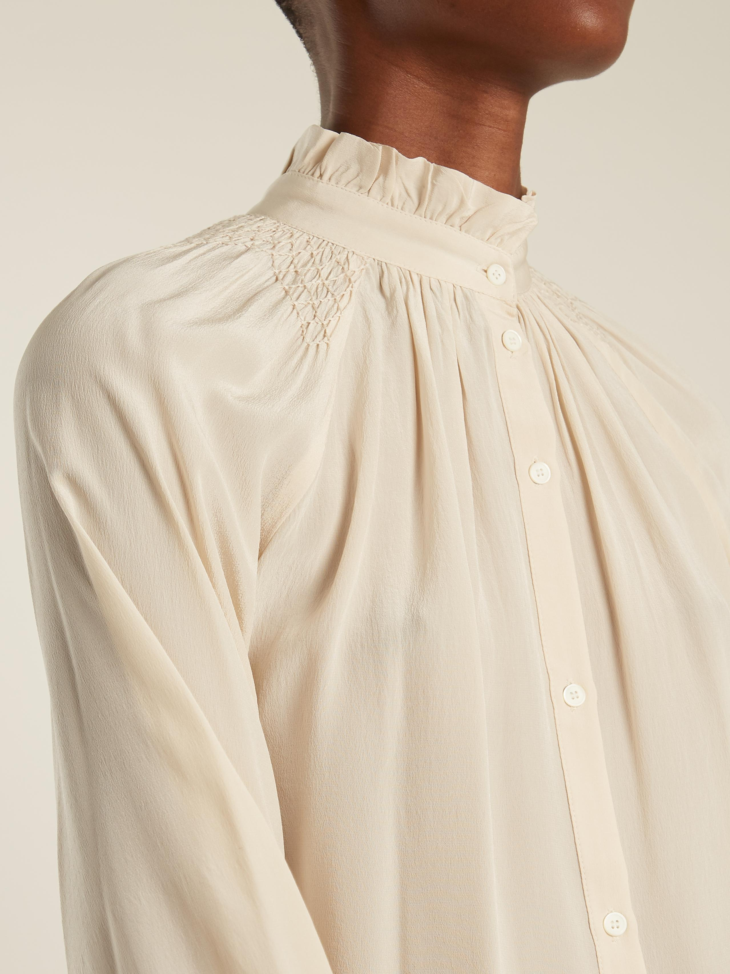 Frill-trimmed stitch-detail silk shirt Masscob Great Deals Clearance New Arrival MmDr2fL