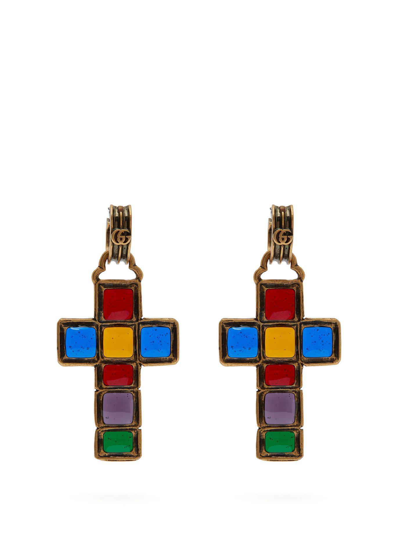 449ed1801f0 Gucci Enamelled Cross Earrings in Blue - Lyst
