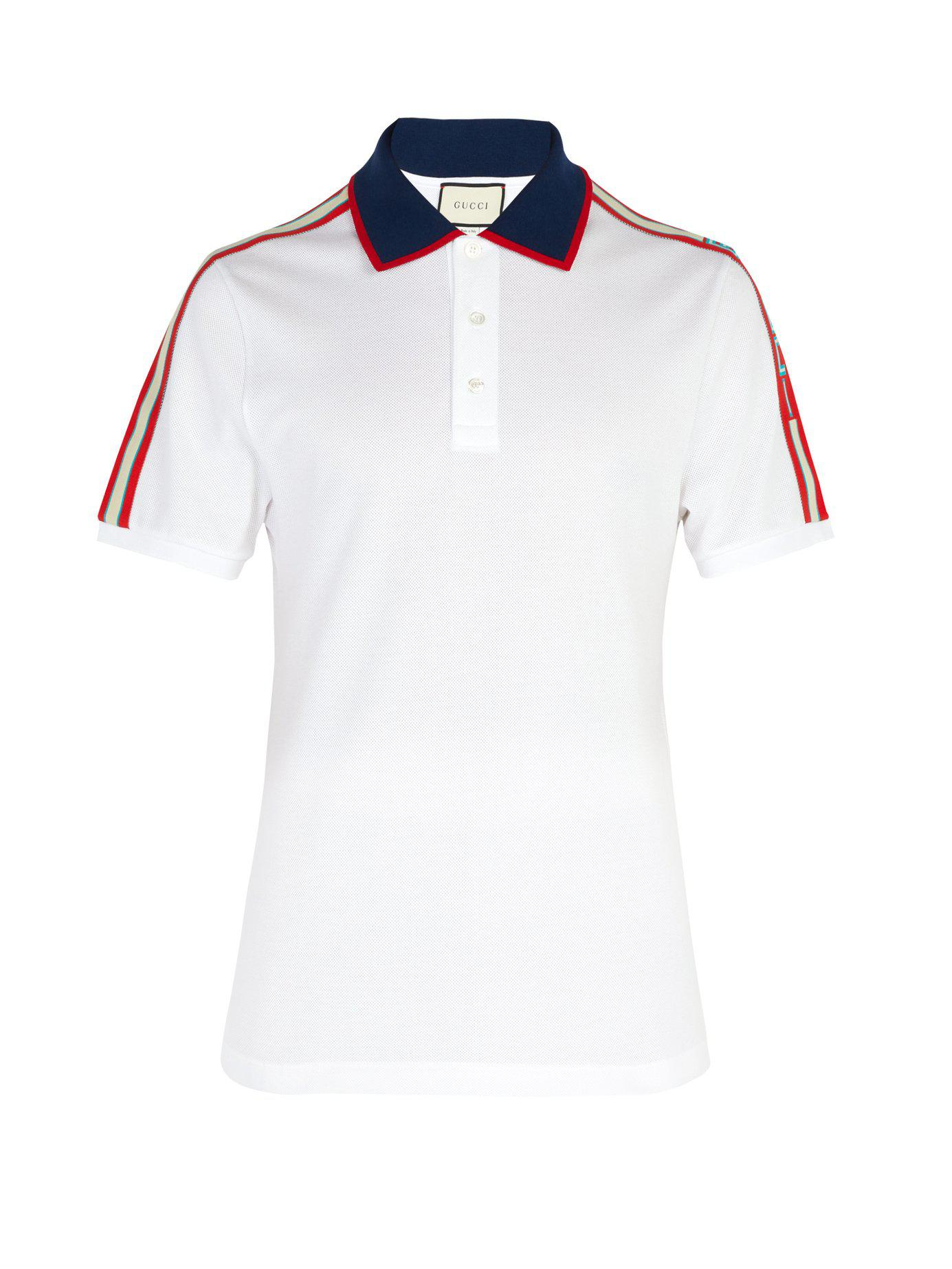 8c848a18695 Gucci Cotton Piqué Polo Shirt in White for Men - Lyst