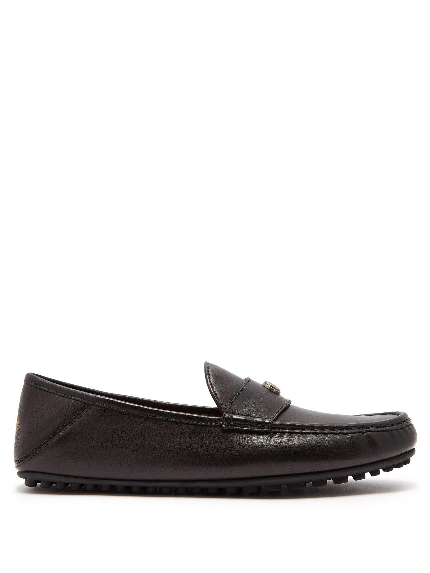 daf75552b Lyst - Gucci Soft Leather Moccasin Loafers in Black for Men