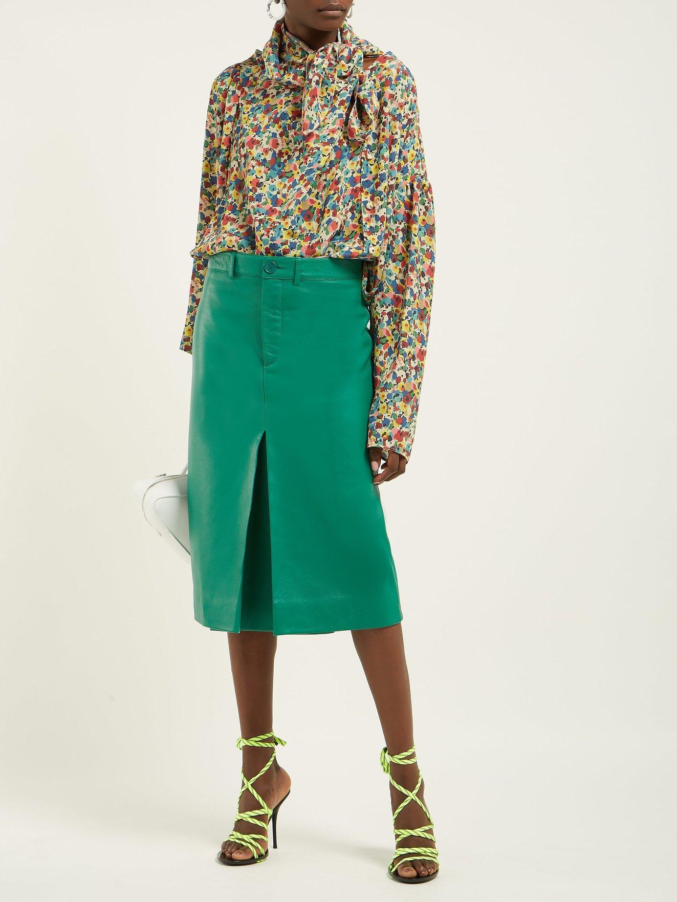 c18d15e39e0c15 Lyst - Balenciaga Floral Print Asymmetric Silk Crepe Blouse