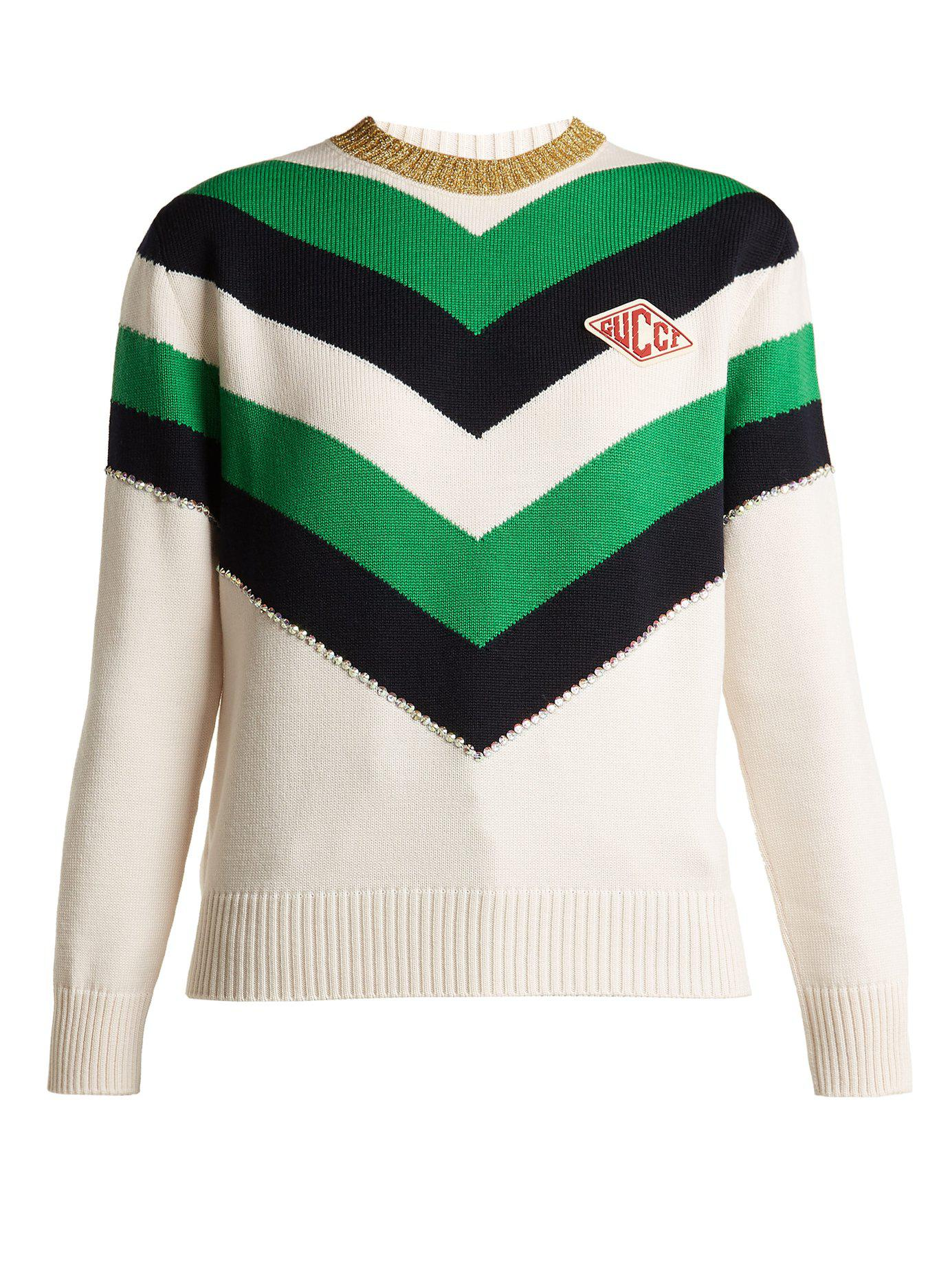Lyst - Pull en laine à rayures chevrons Gucci en coloris Vert e4c32107fe1