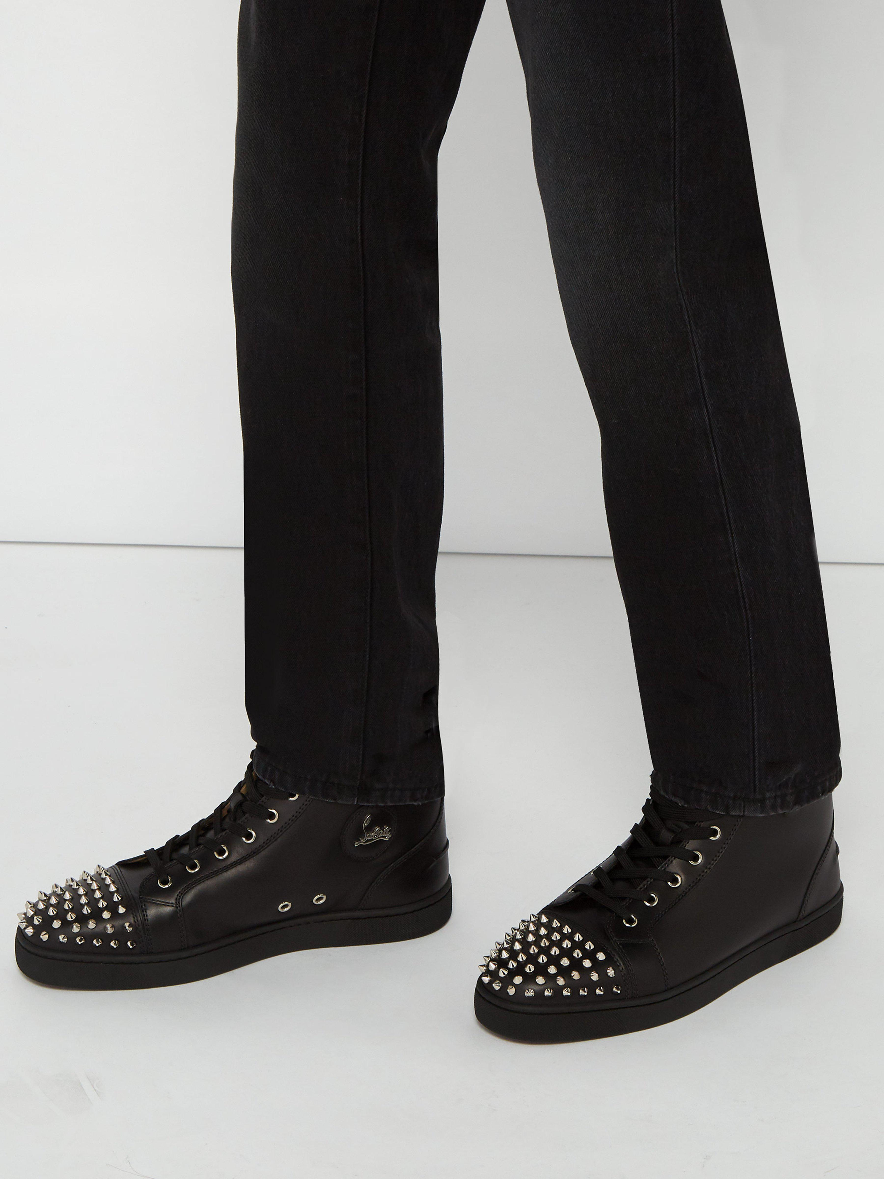 1097428122c Christian Louboutin Black Lou Spikes High-top Sneakers in Black for Men -  Save 4% - Lyst