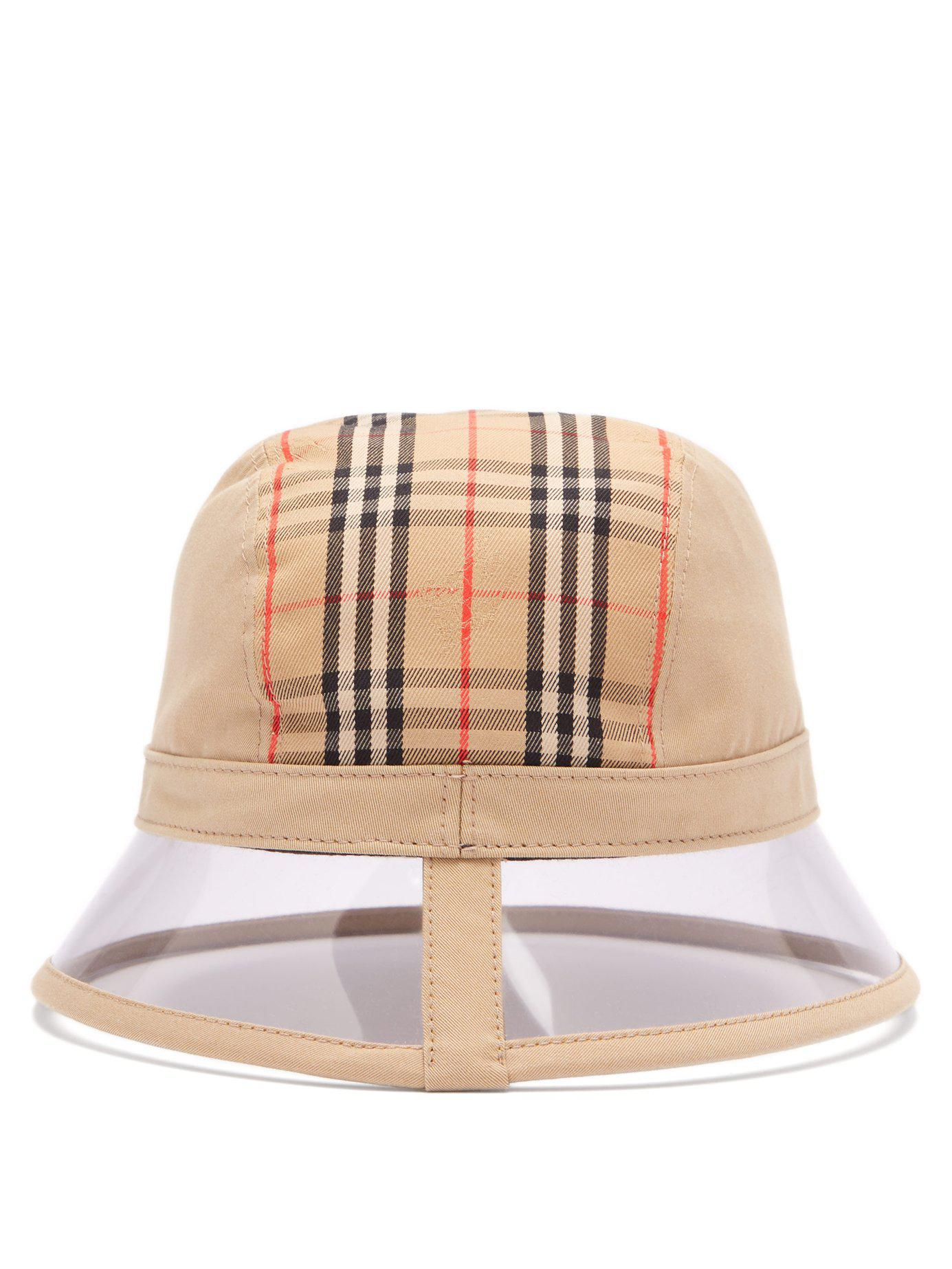8f1806cc745 Lyst - Burberry 1983 Vintage Check Bucket Hat in Natural