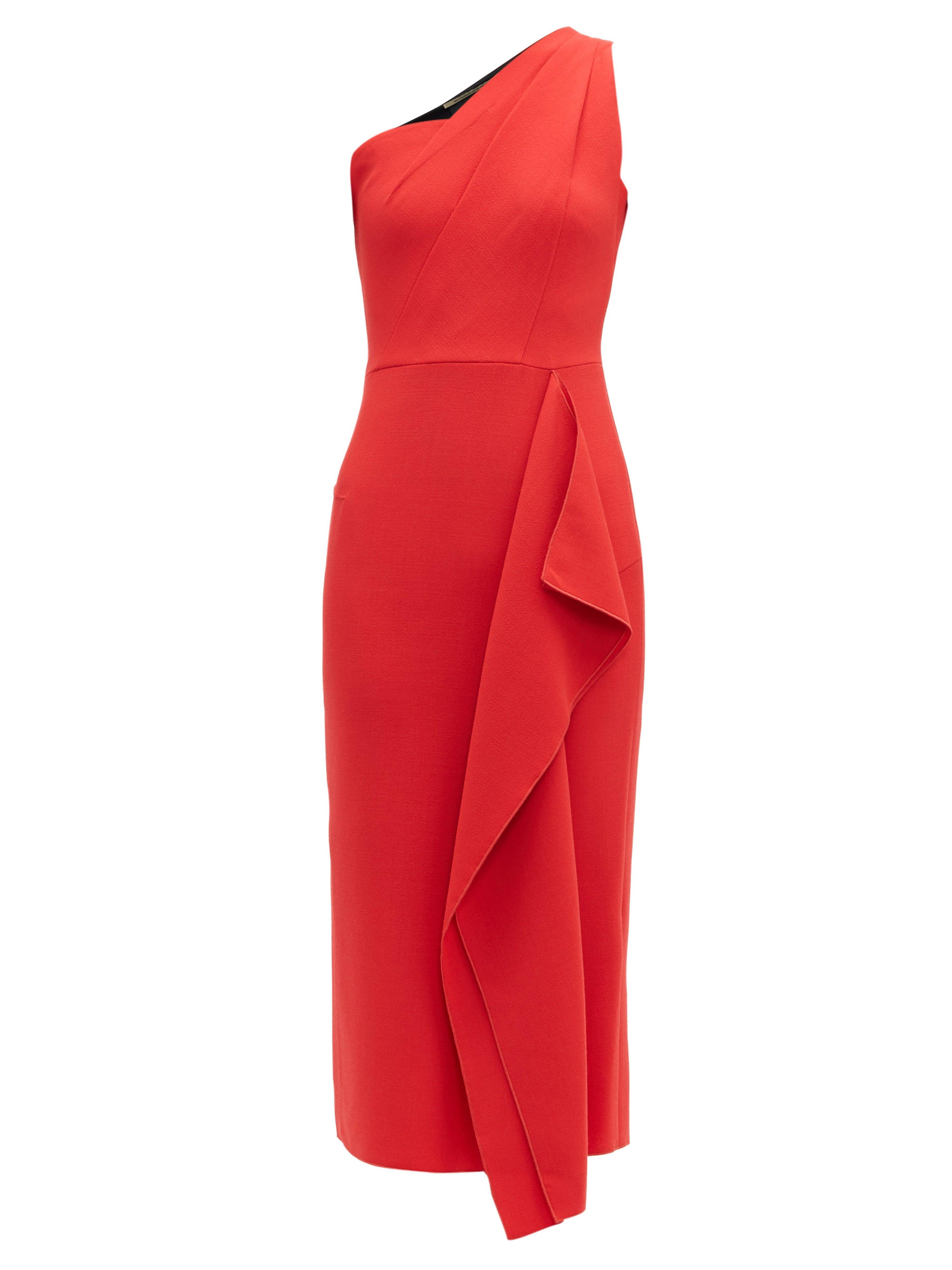 c125d6e31 Roland Mouret Rivoli One Shoulder Wool Crepe Dress in Red - Lyst