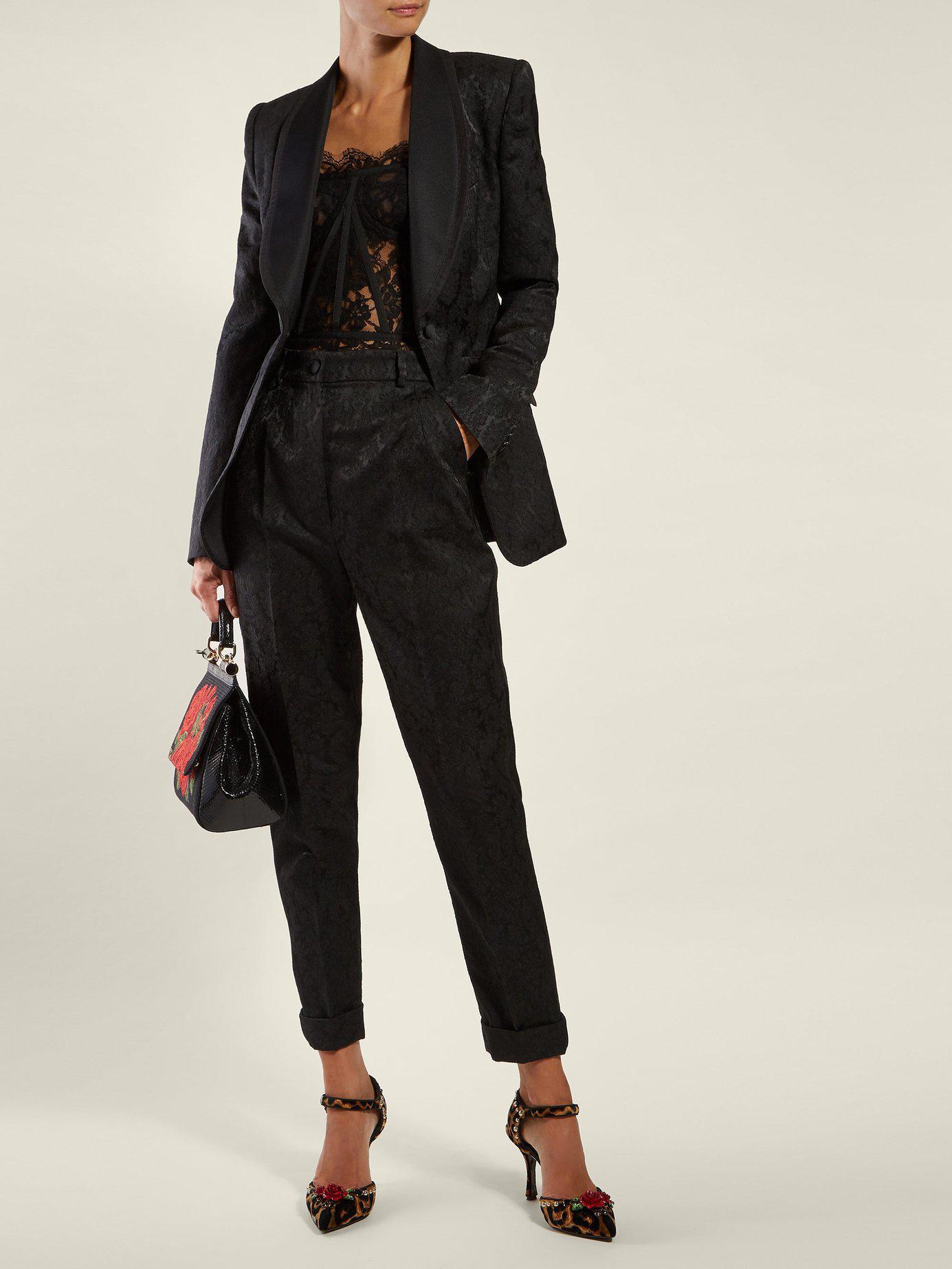 04aa8edbf Dolce   Gabbana Scallop Edged Lace Bustier Top in Black - Lyst