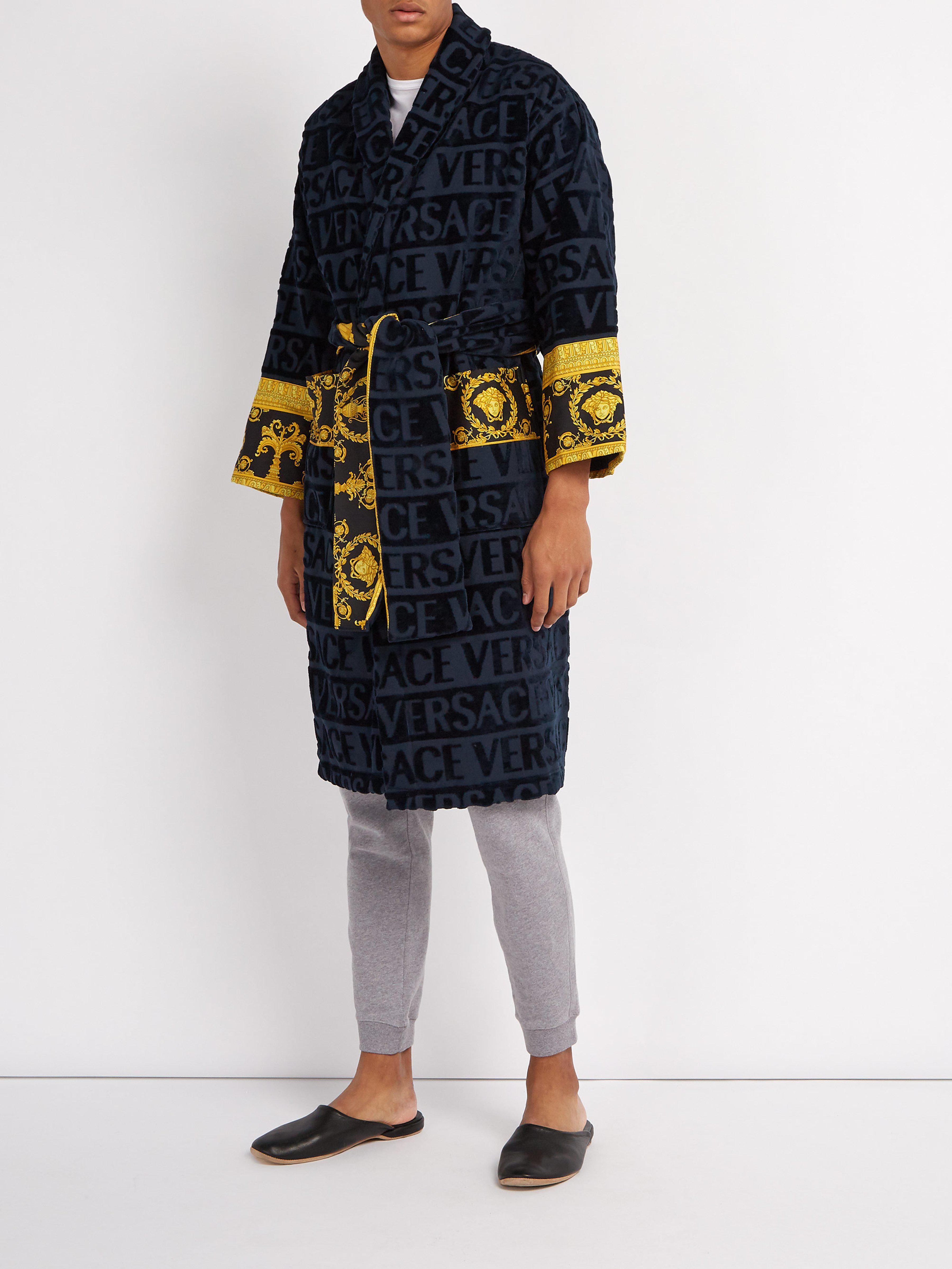 Versace Print Panelled Logo Jacquard Cotton Bathrobe in Blue for Men ... 604b444f0