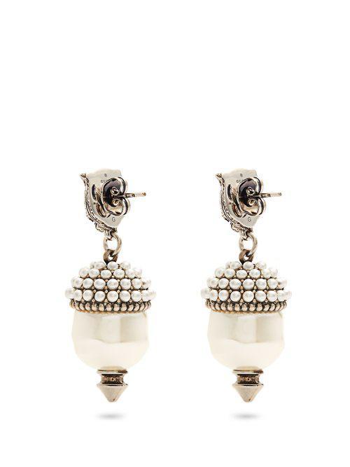 Gucci Feline faux-pearl clip-on earrings 6oPeKQty