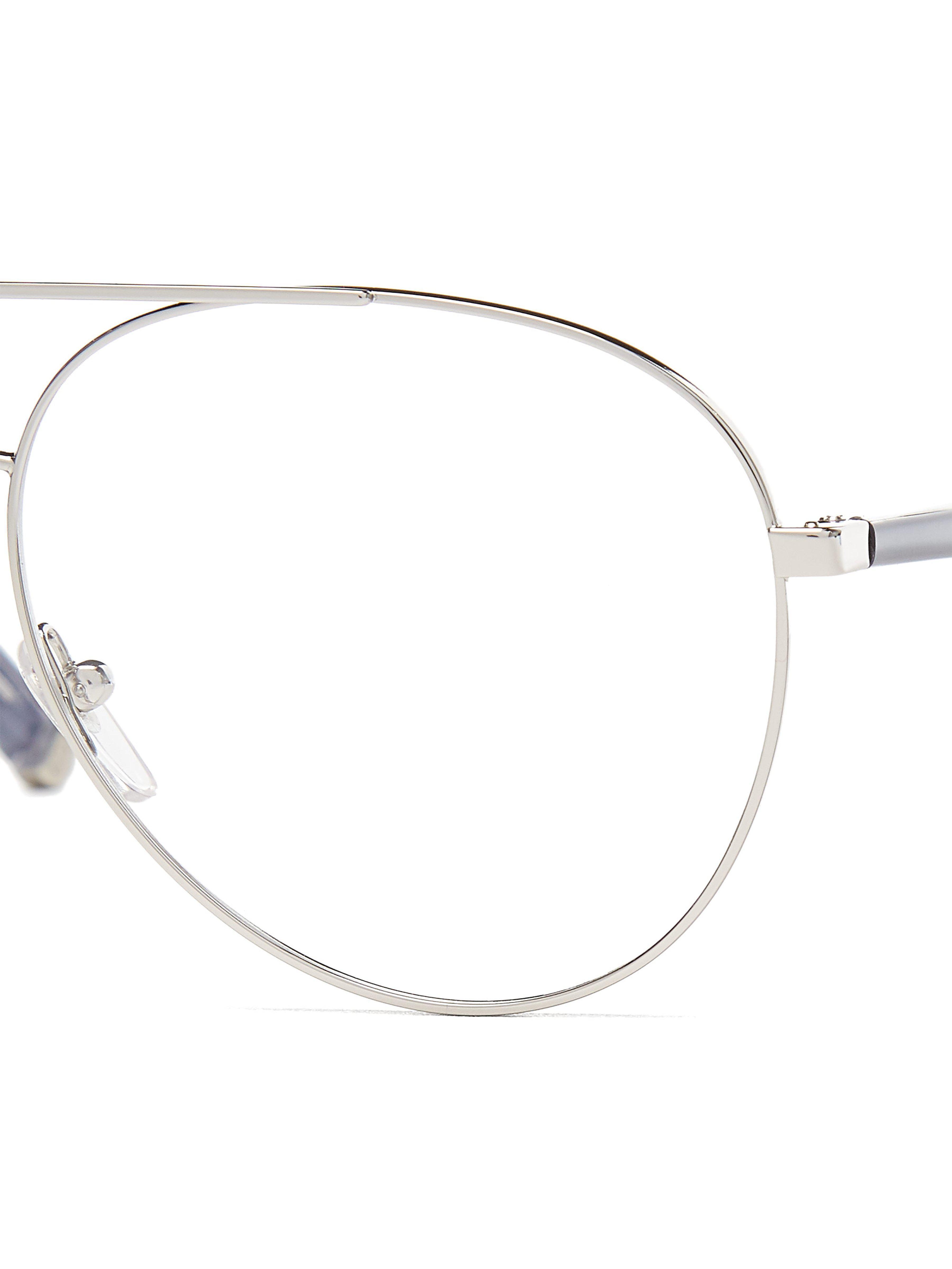 06b8ba8a51359 Retrosuperfuture Numero 34 Argento Clear Aviator Glasses in Metallic ...