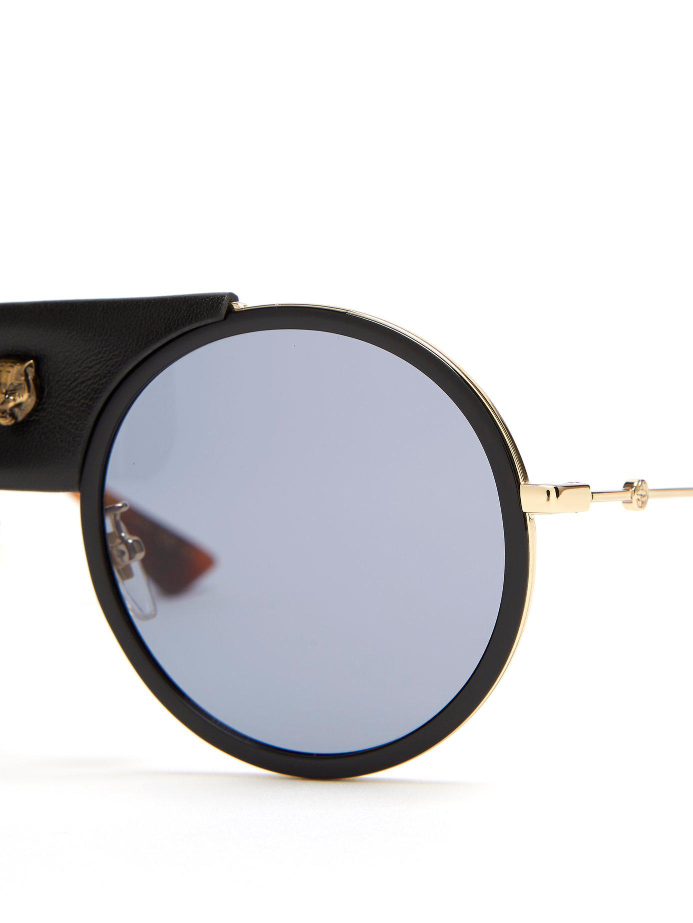 68c06646ecd Lyst gucci round frame leather trimmed metal sunglasses in black jpg  1385x1846 Leather gucci eyeglasses