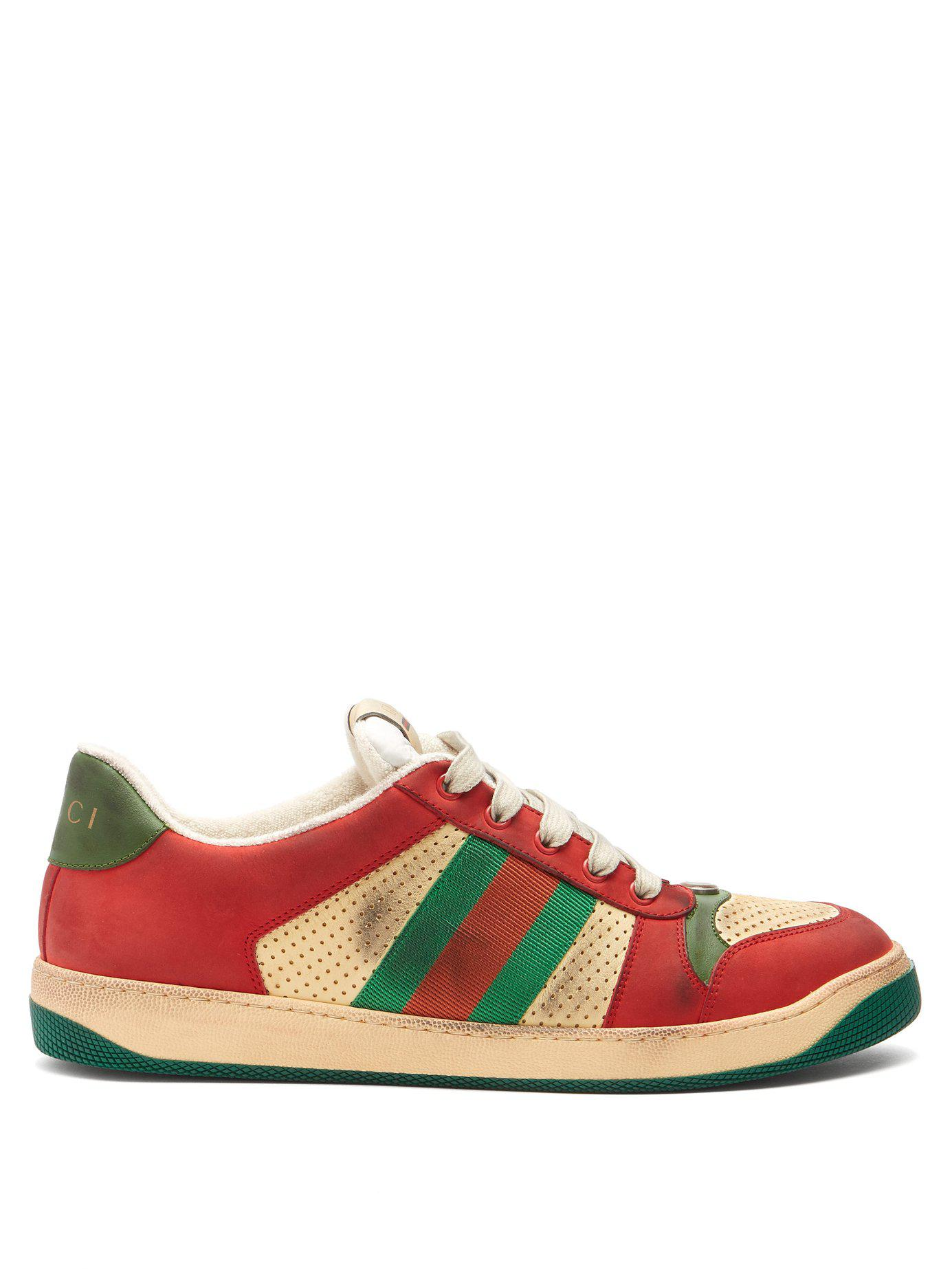 0d43897e7d2 Lyst - Gucci Virtus Low Top Distressed Leather Trainers for Men