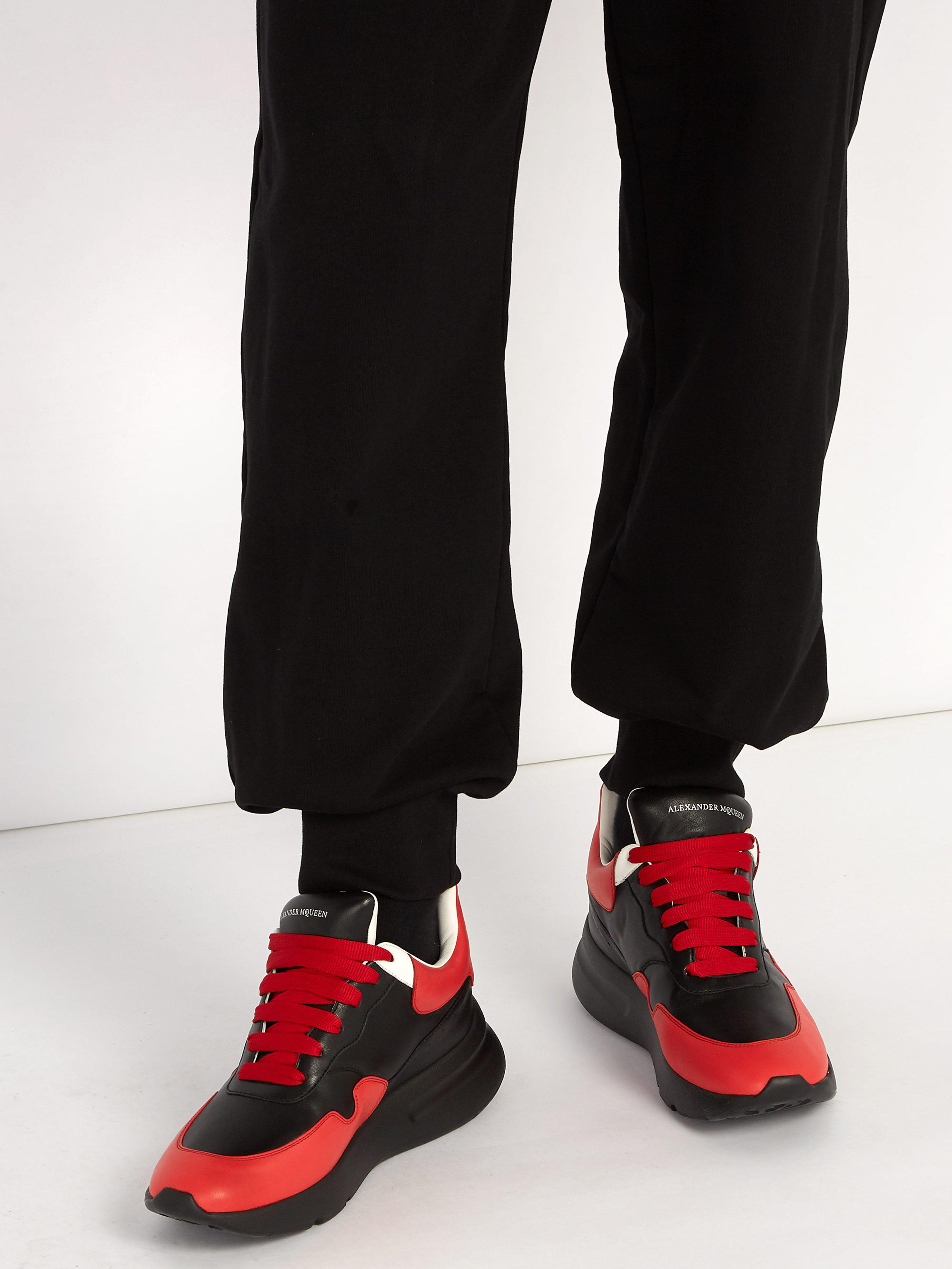 fa13b8a3cfa0 Alexander McQueen Runner Raised-sole Low-top Leather Trainers in Red ...