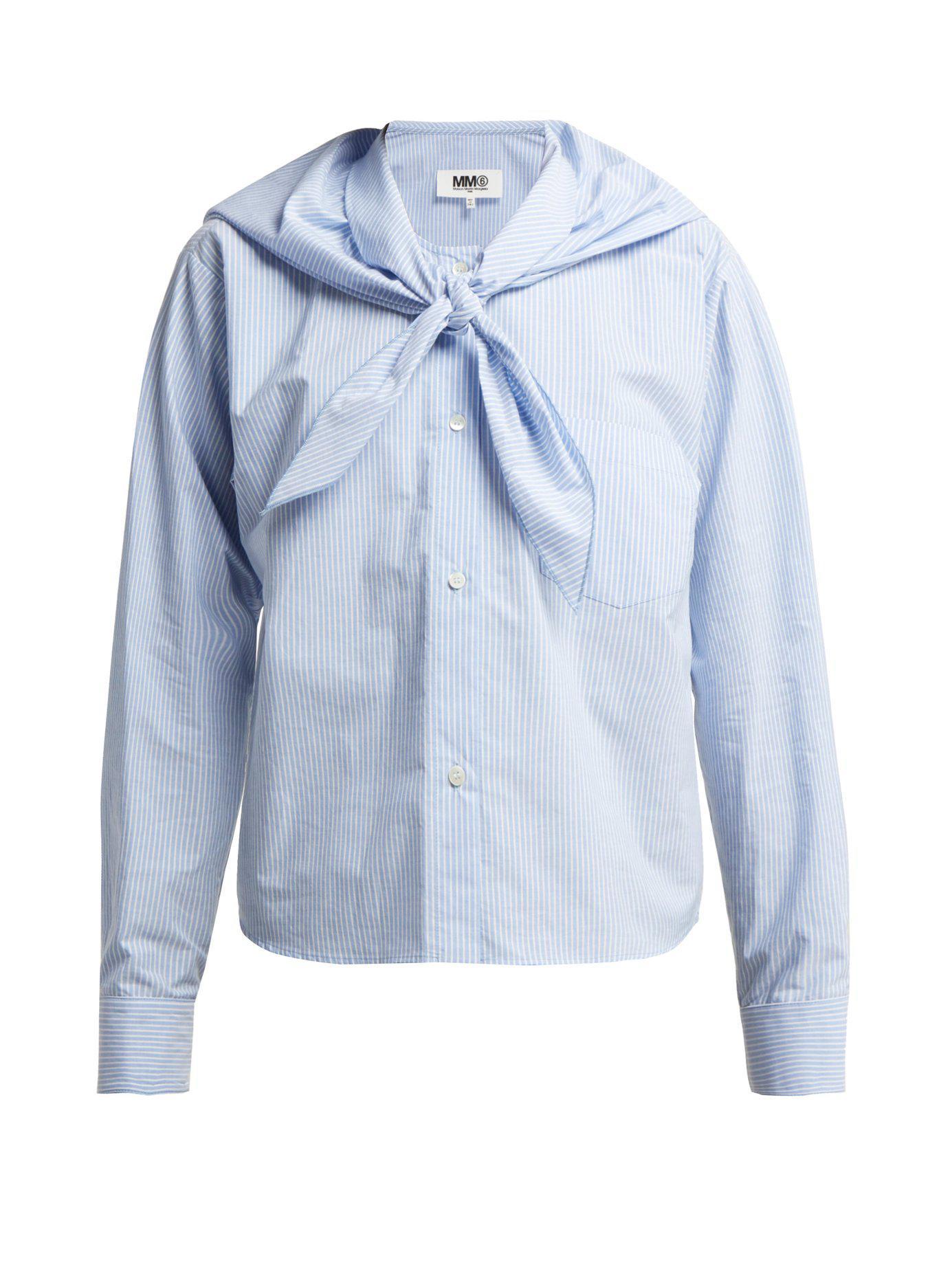 5008f61818819 Lyst - MM6 by Maison Martin Margiela Tie Front Cotton Poplin Shirt ...