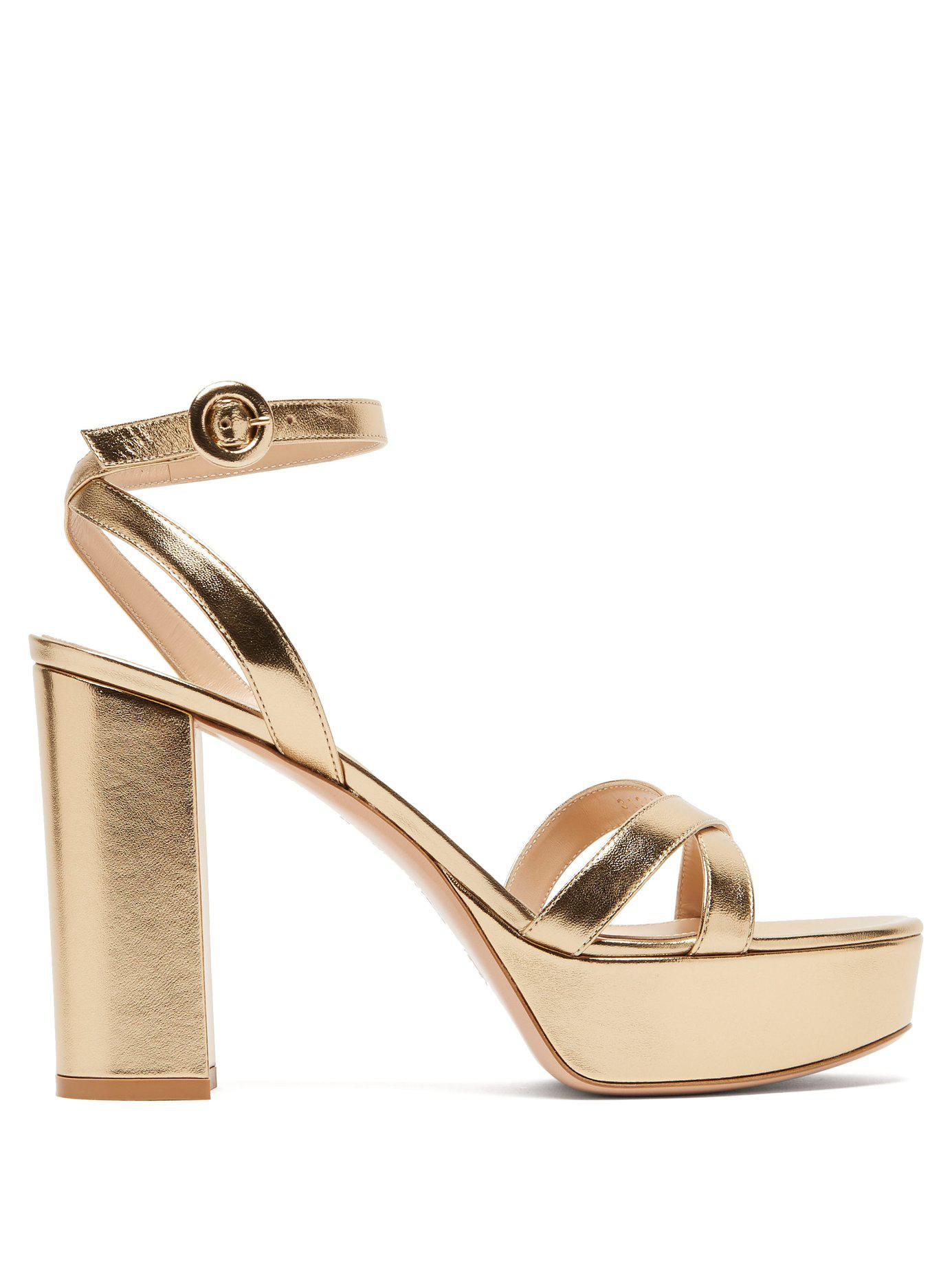 51036d86a94 Lyst - Gianvito Rossi Poppy 70 Leather Platform Sandals in Metallic