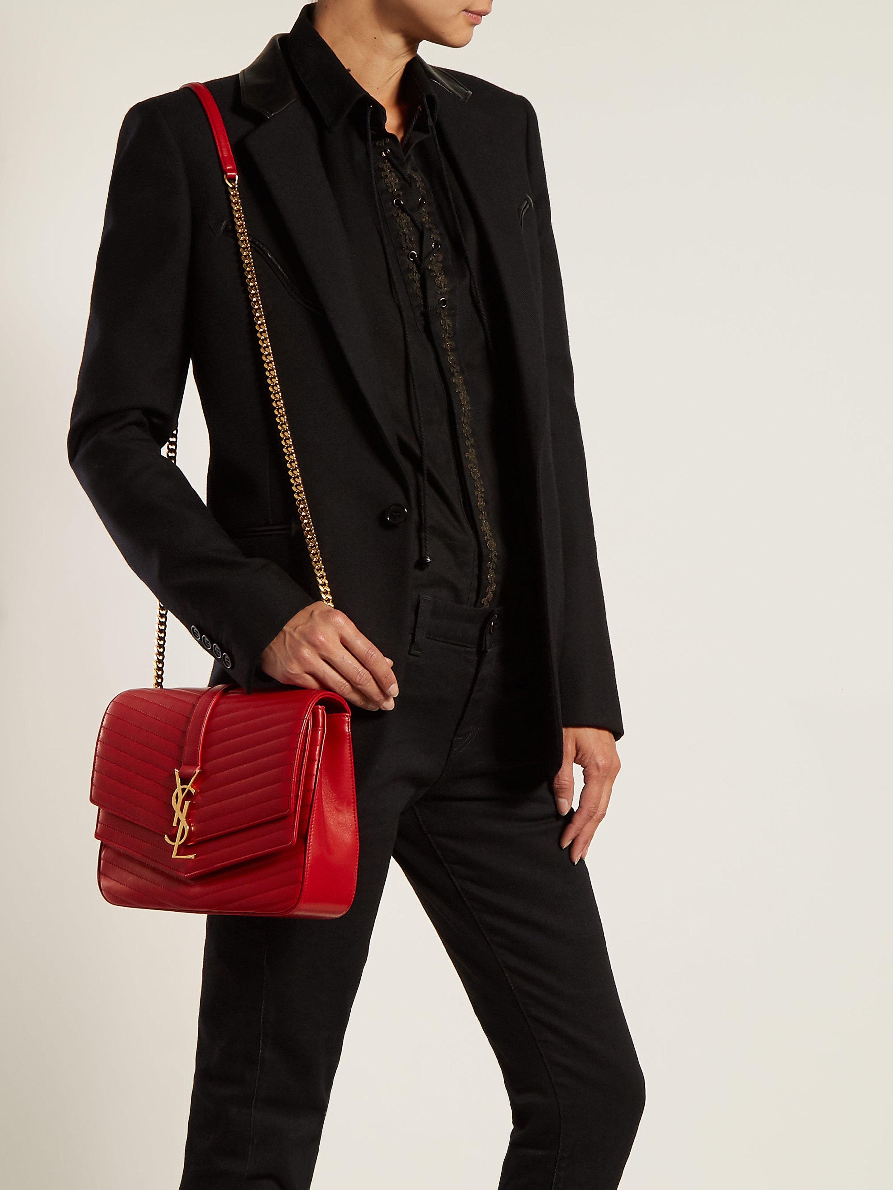 d67b26823f39 Saint Laurent Sulpice Small Leather Bag in Red - Lyst