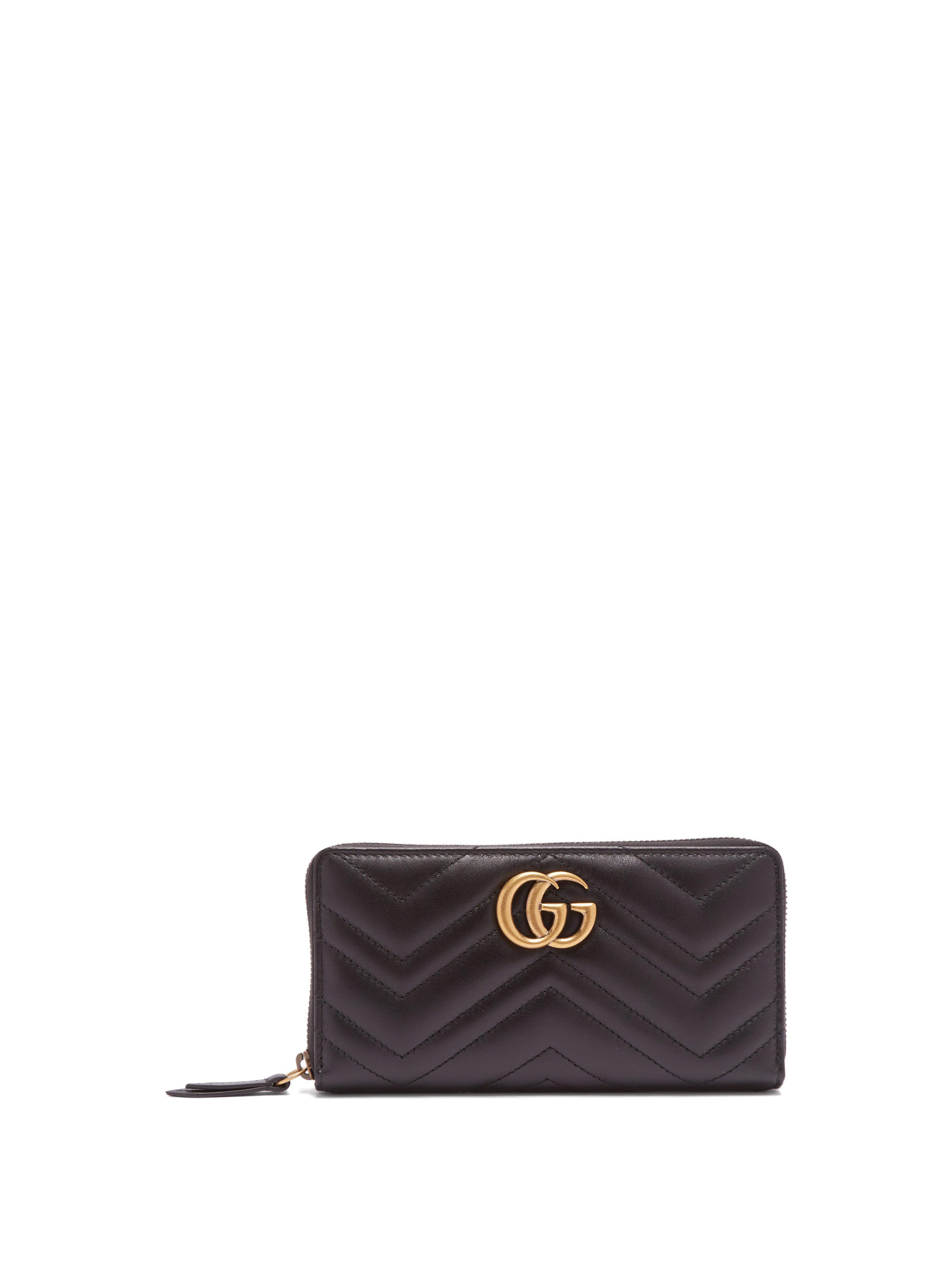 4f712f4ccc52 Gucci Gg Marmont Continental Wallet in Black - Lyst