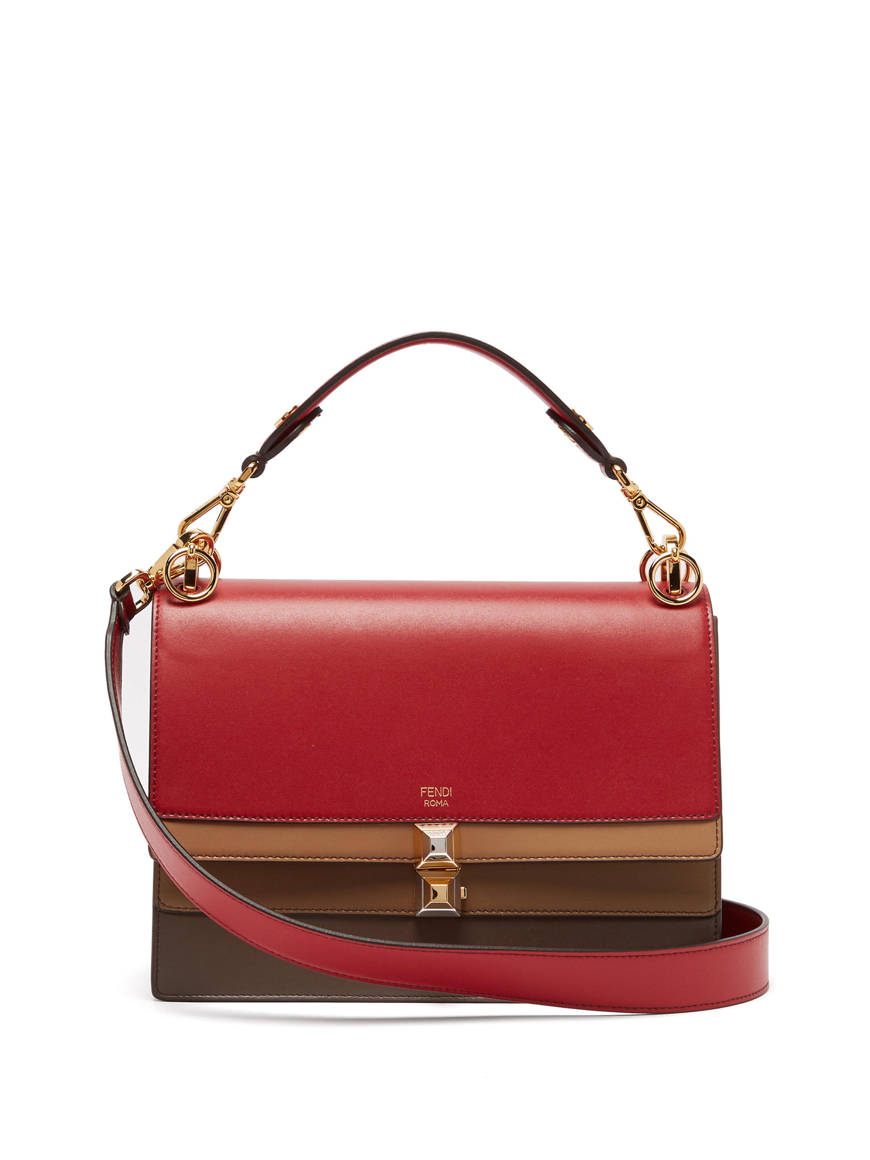 3cafe40a12b7 Fendi Kan I Leather Shoulder Bag in Red - Lyst