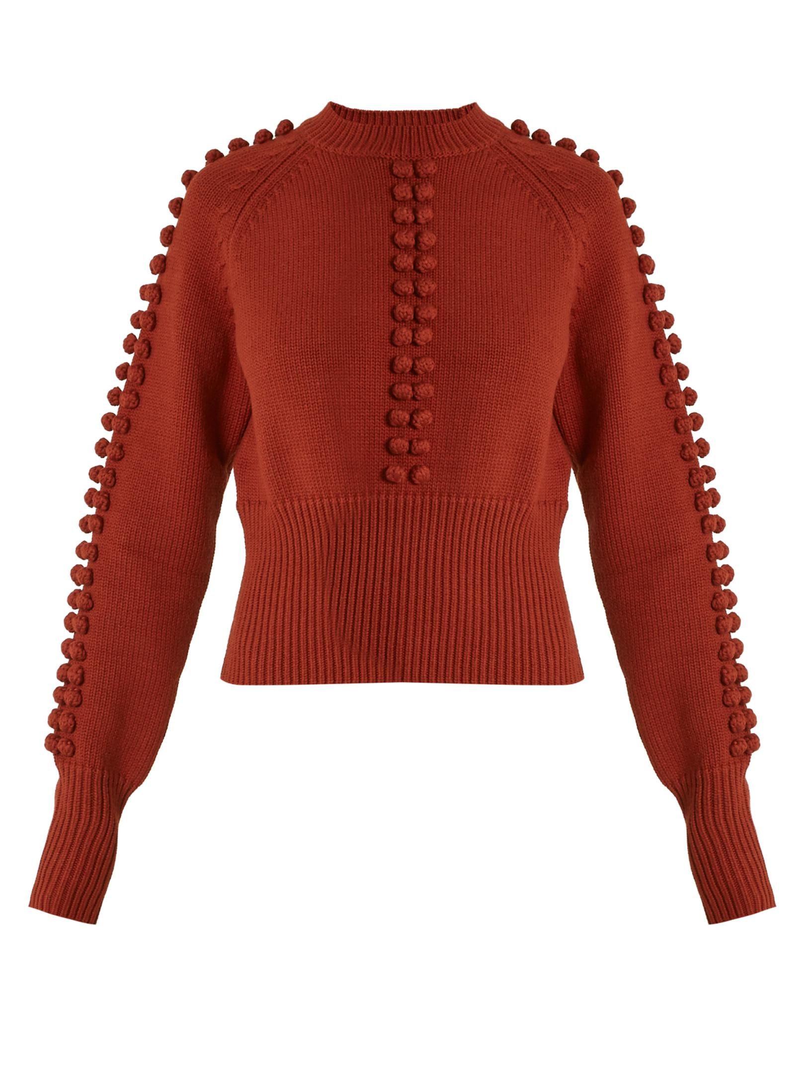 Chloé Pompom-embellished Sweater in Red | Lyst
