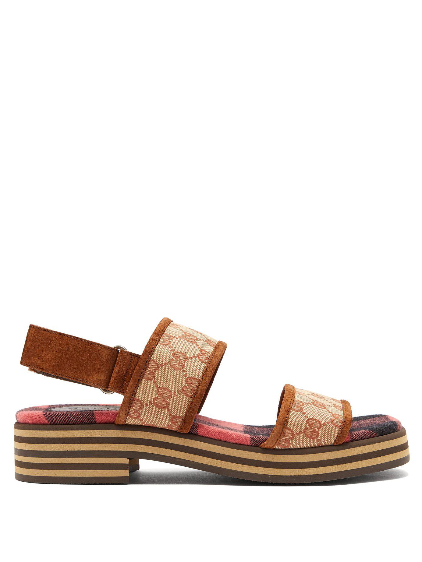 b343e87bc33fec Lyst - Gucci Gg Supreme Stacked Sole Suede Sandals in Brown for Men
