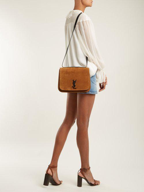 33df5a3606 Lyst - Saint Laurent Spontini Medium Suede Bag in Brown