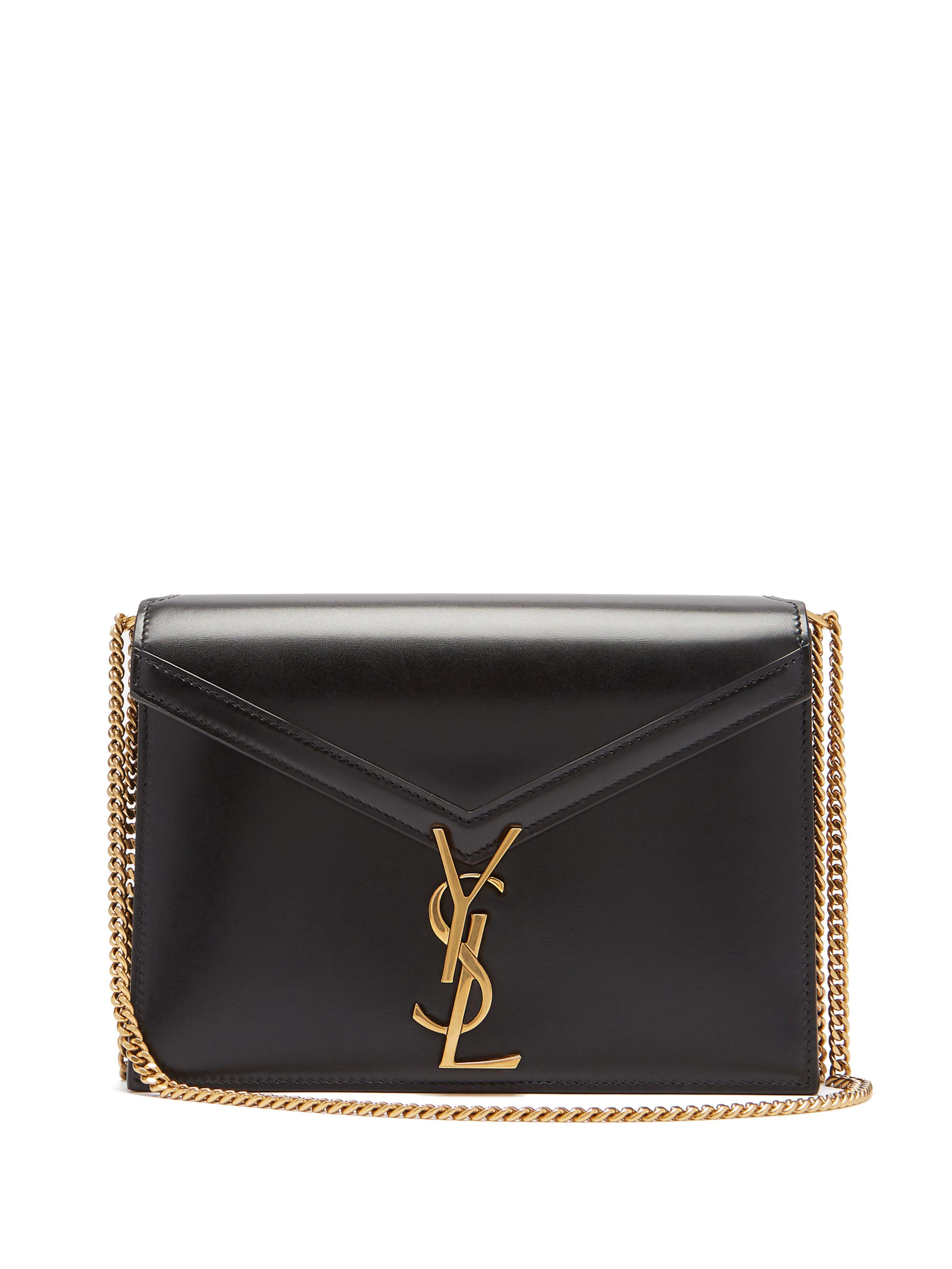 599e0ebcce Saint Laurent Cassandra Monogram Leather Cross Body Bag in Black - Lyst