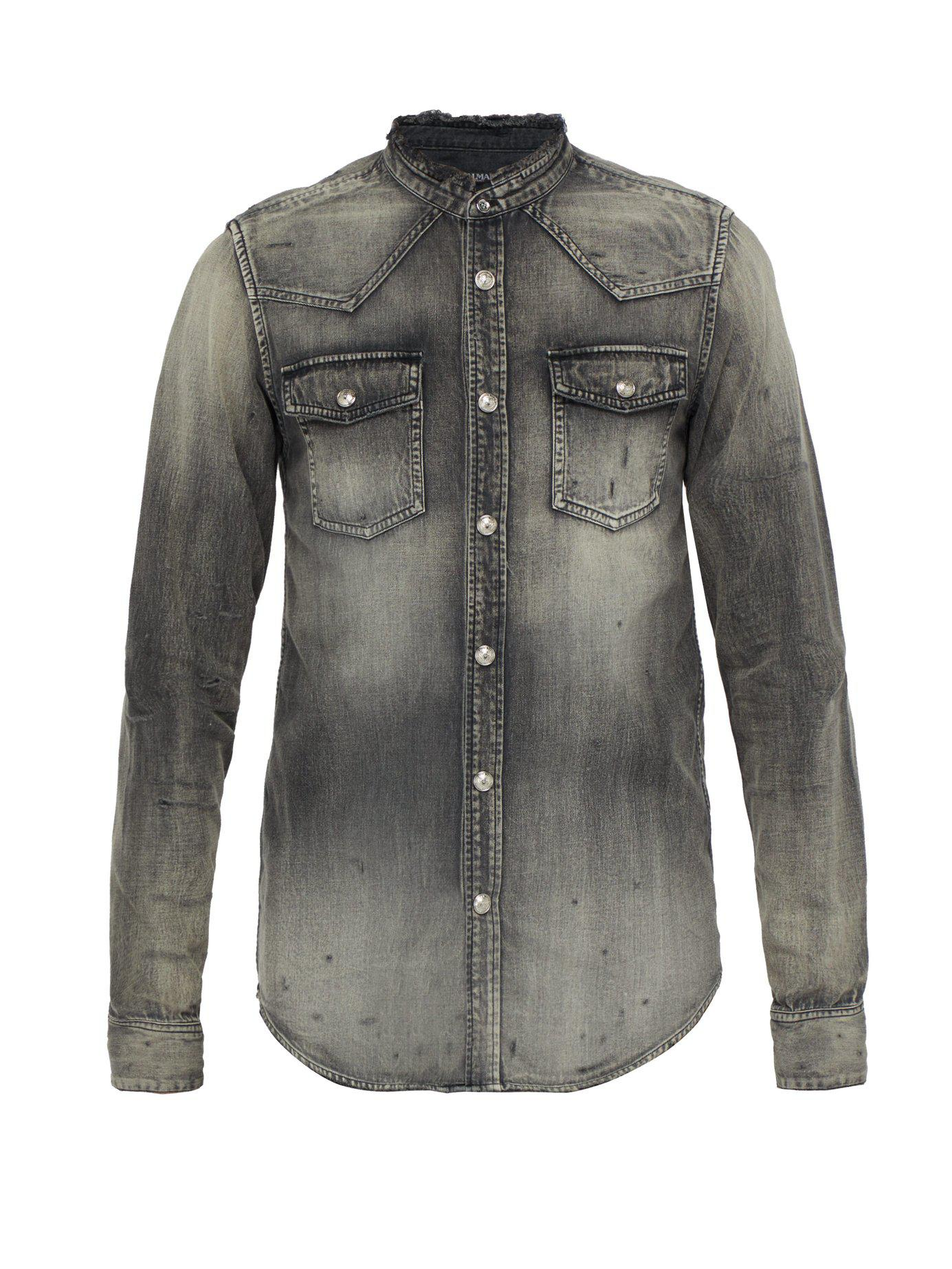 7be3a4f85a Lyst - Balmain Western Distressed Denim Shirt in Black for Men