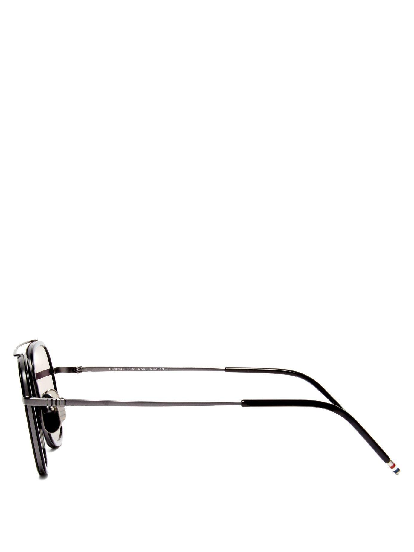 46dd8bacac24 Thom Browne - Black Mirrored Metal Aviator Sunglasses for Men - Lyst. View  fullscreen