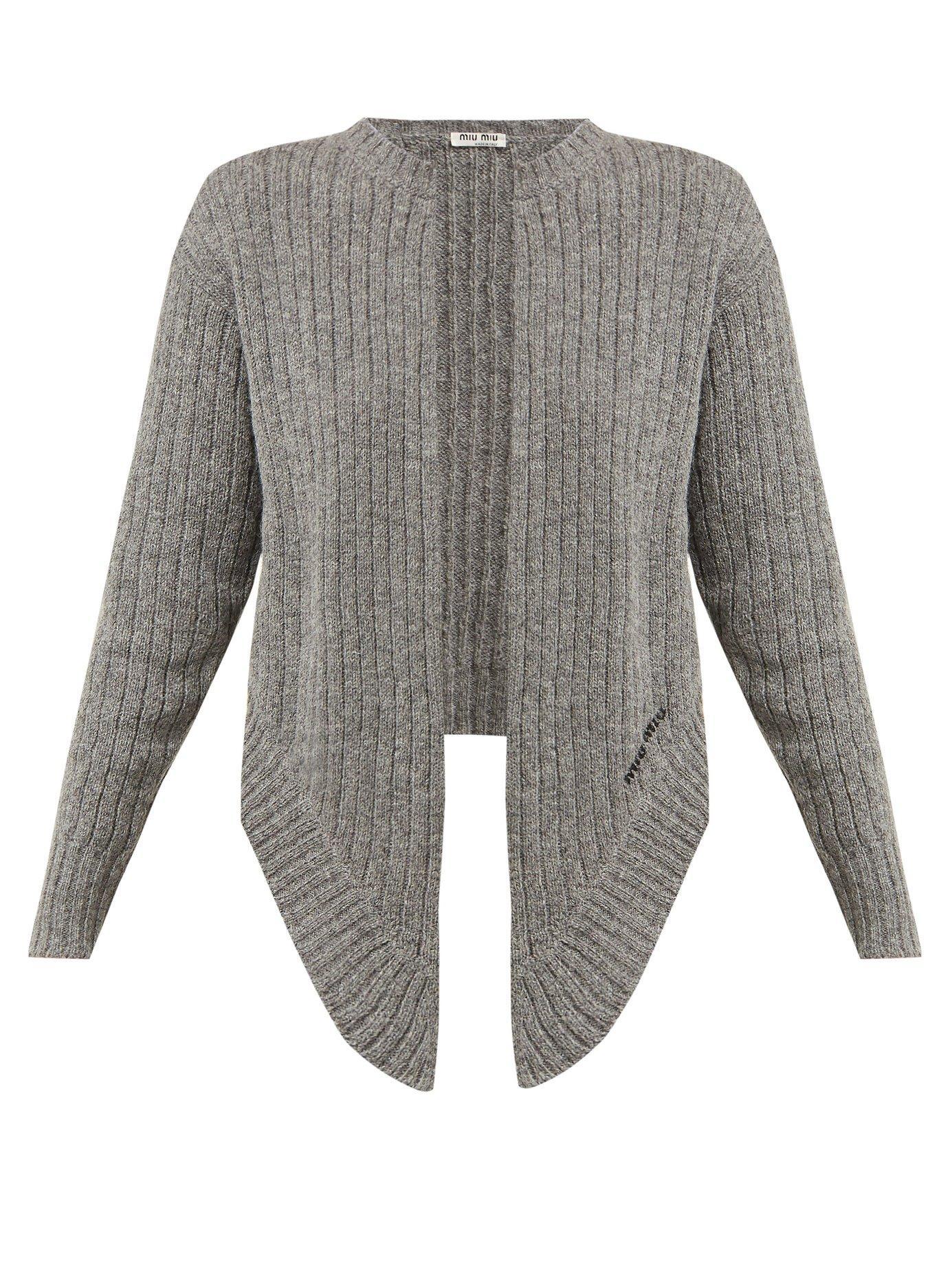 77c484c26d47 Lyst - Miu Miu Tie Front Wool Cardigan in Gray