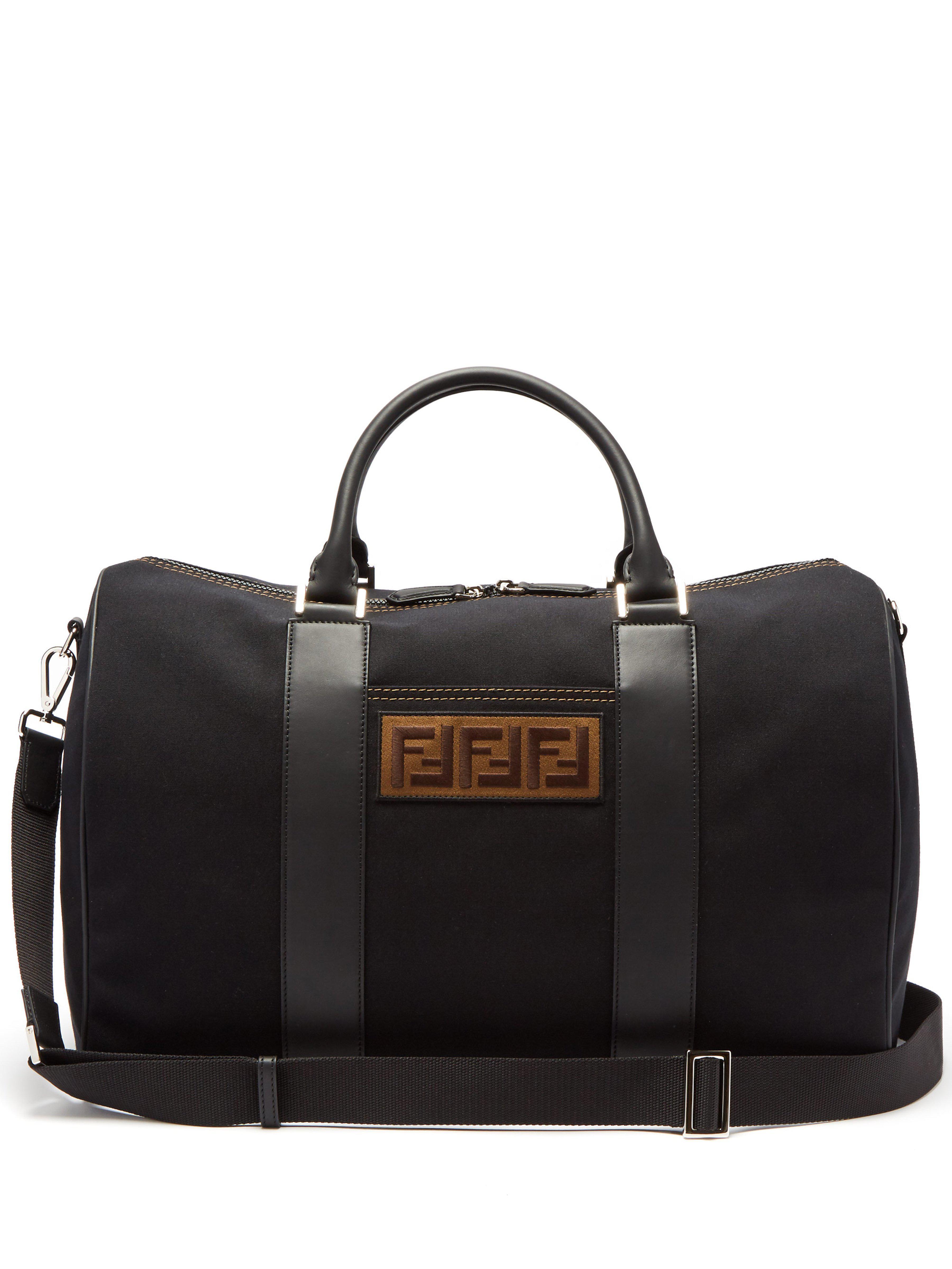 6b2cfc565a69 Fendi Logo Patch Canvas Holdall in Black for Men - Lyst