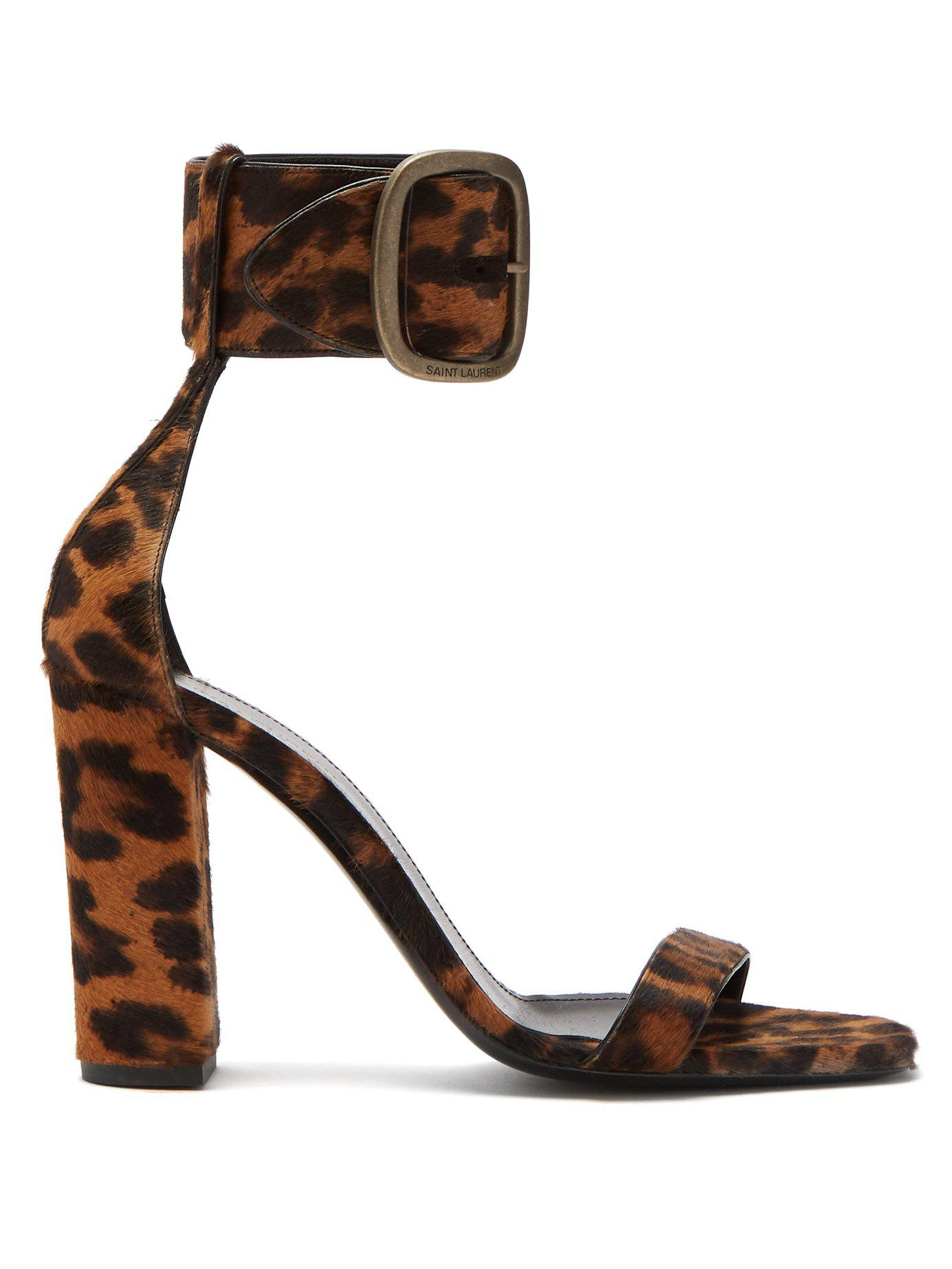 62052c9fefc Lyst - Saint Laurent Loulou Buckled Leopard Print Sandals in Brown