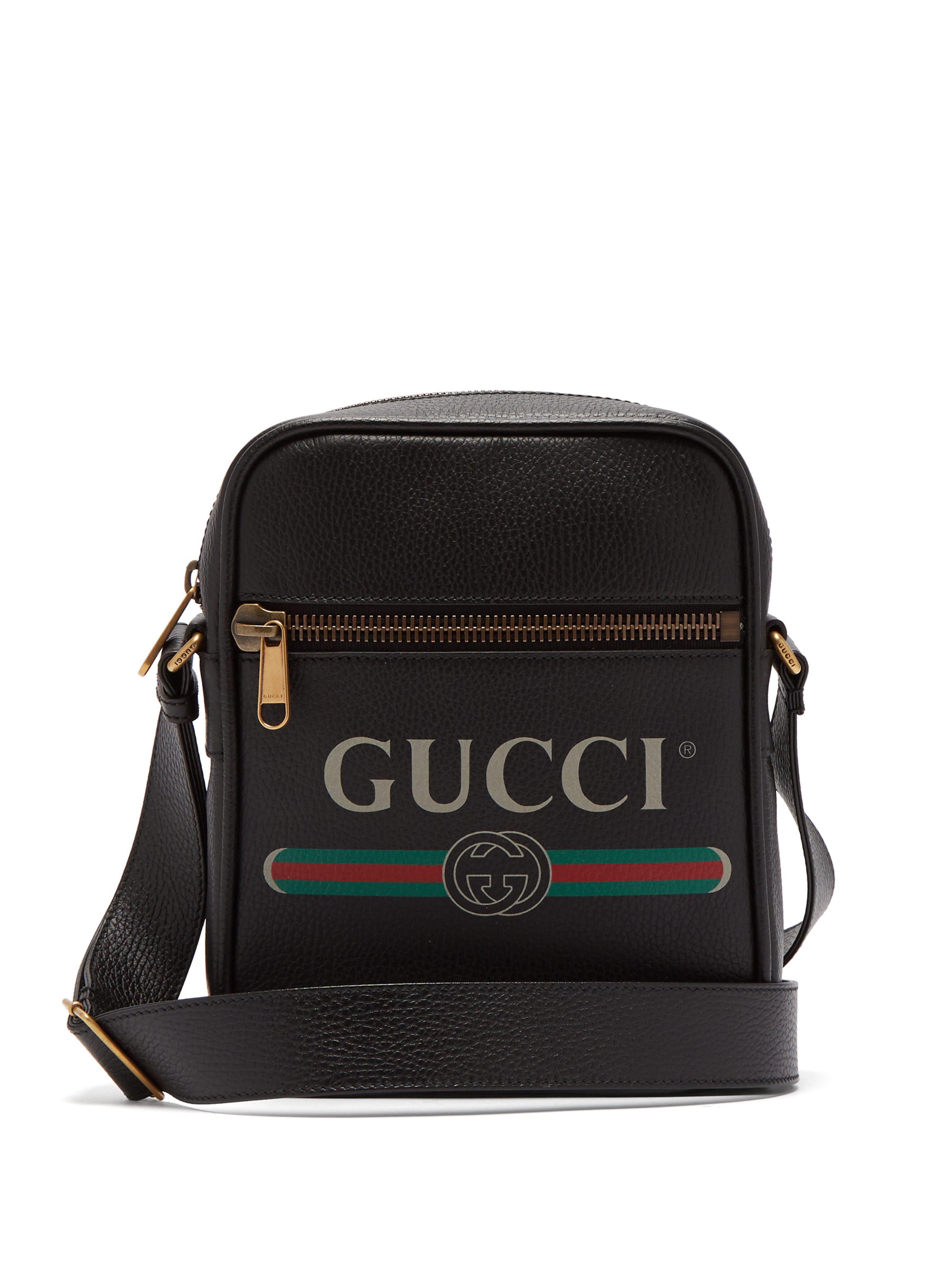 ae4606413118 Gucci - Black Logo Print Grained Leather Camera Bag for Men - Lyst. View  fullscreen