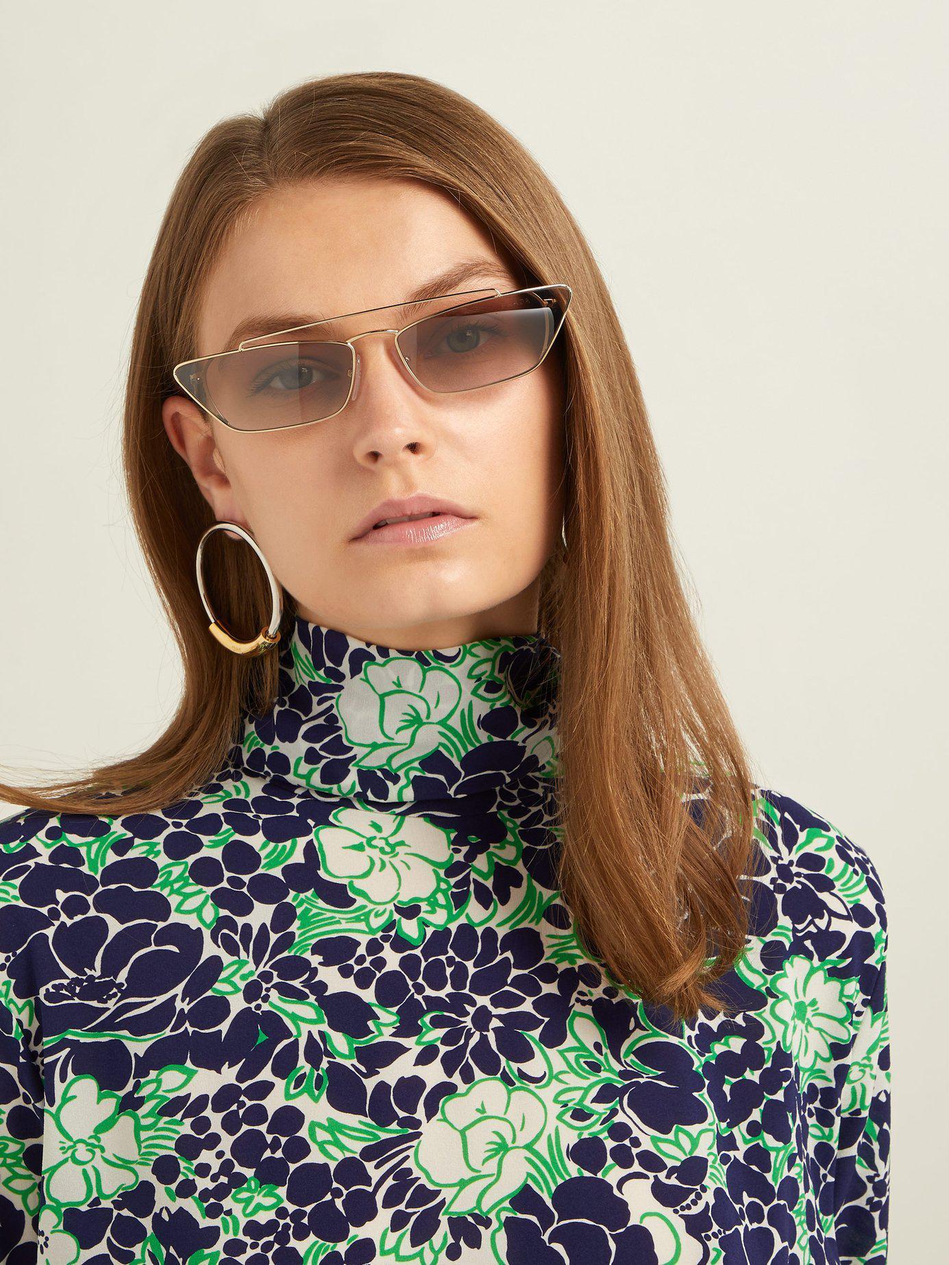 c9f48ea42d Lyst - Prada Ultravox Rectangular Frame Metal Sunglasses in Pink
