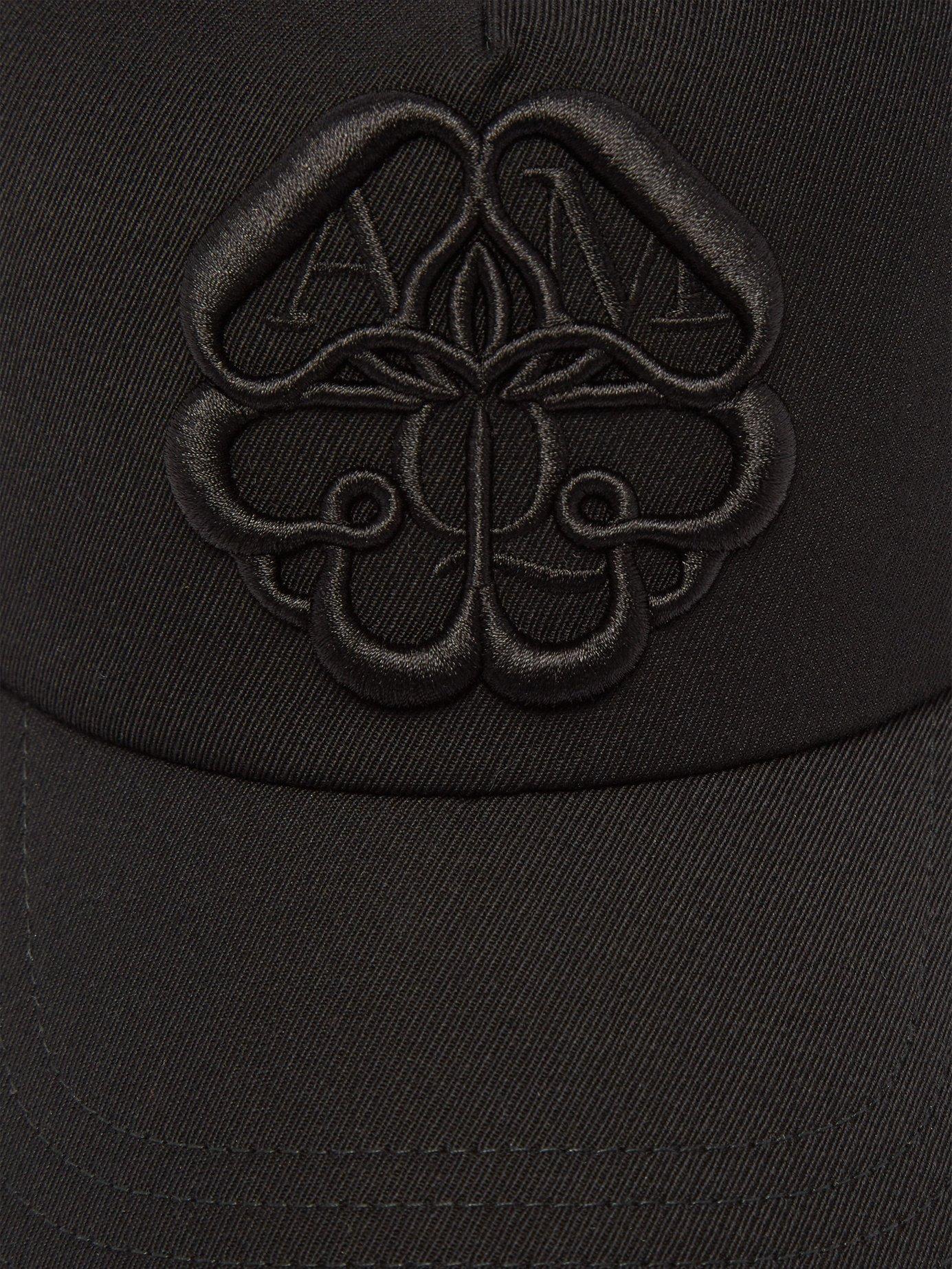39e56b6b724 Alexander McQueen - Black Logo Embroidered Lather Panelled Cotton Cap for  Men - Lyst. View fullscreen