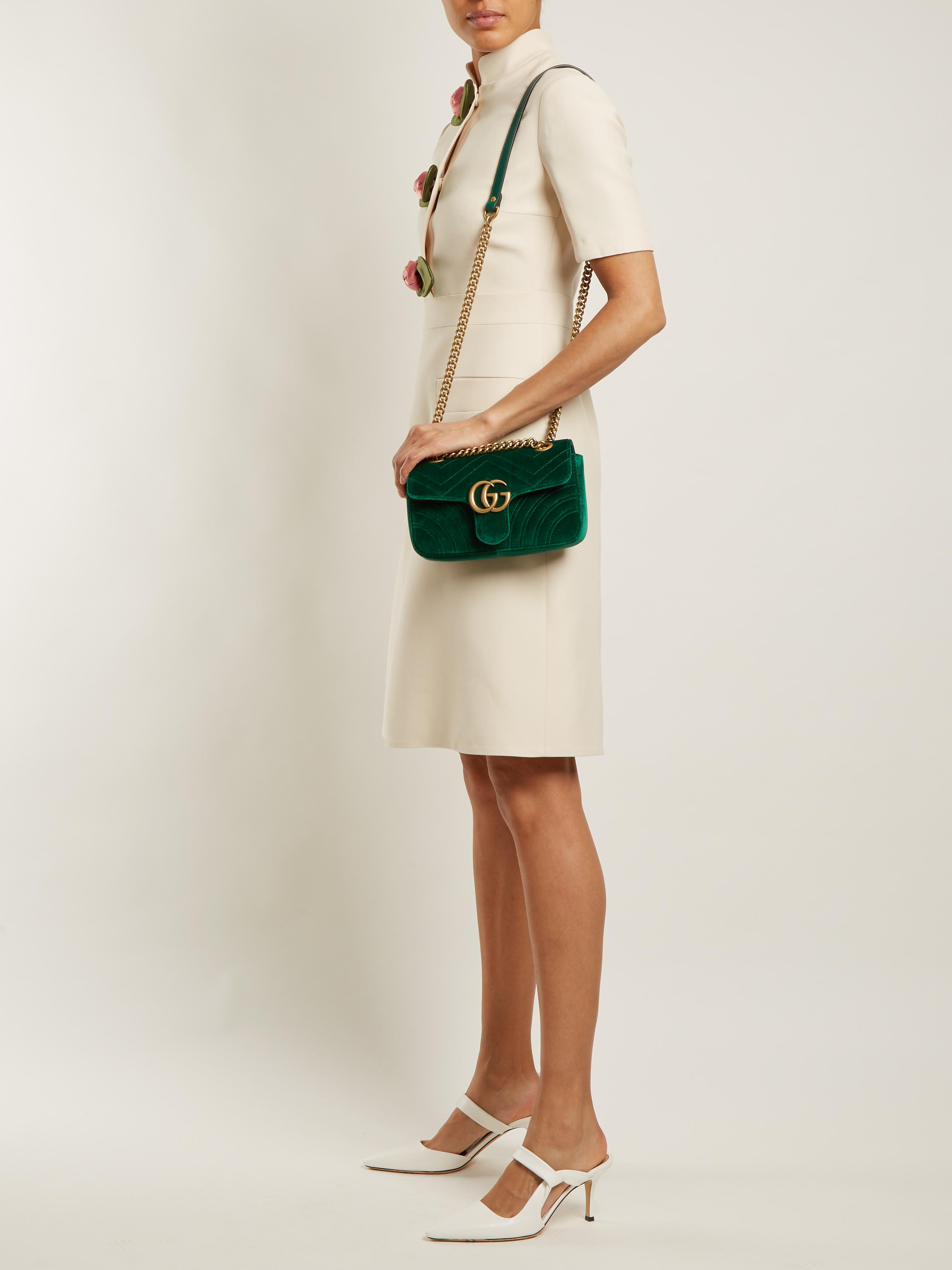 65dc658b80a7 Gucci Gg Marmont Mini Quilted-velvet Cross-body Bag in Green - Lyst