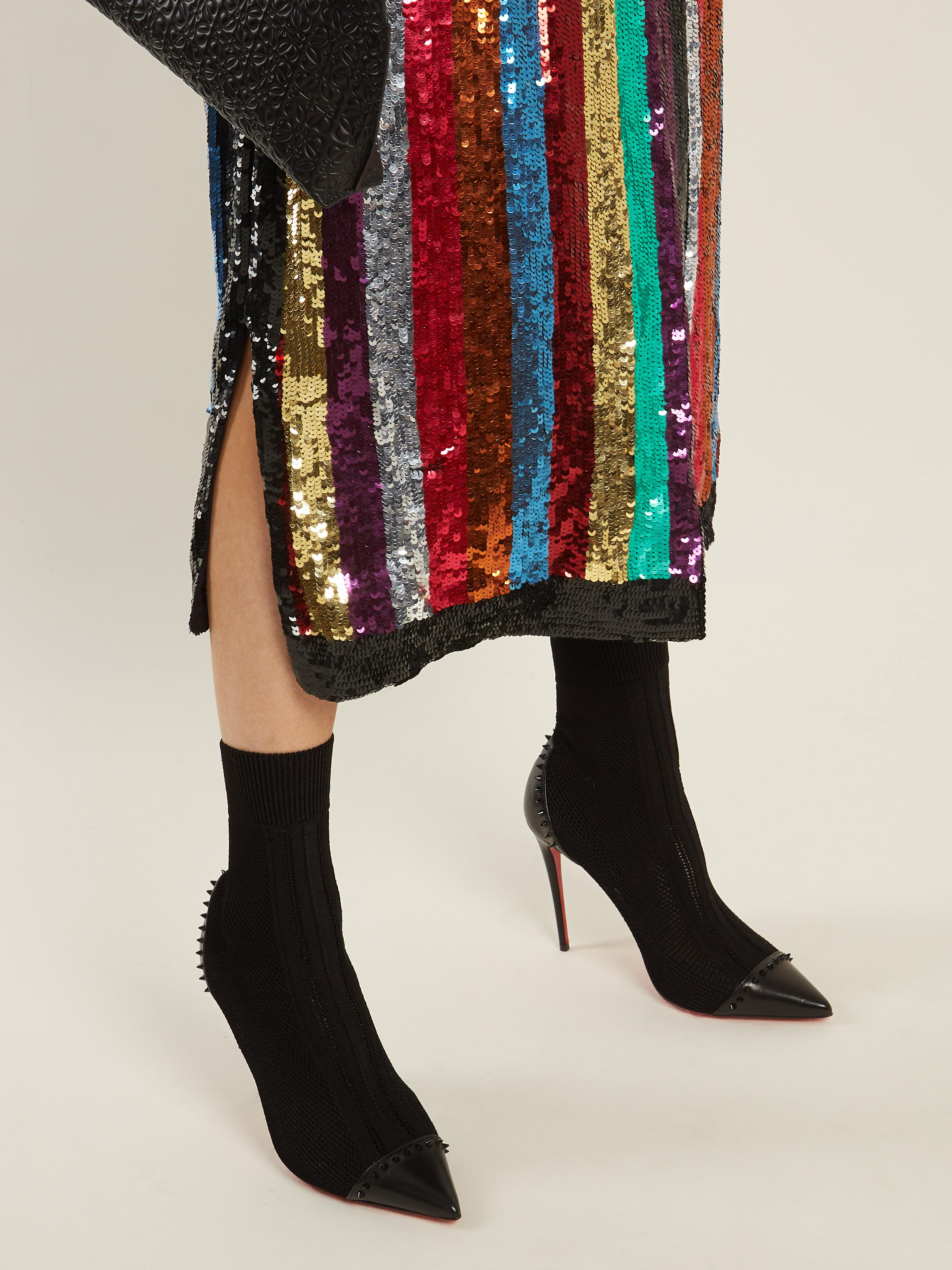 41d31bde54e8 Lyst - Christian Louboutin Dovi Dova Stud-embellished Sock Boots in ...