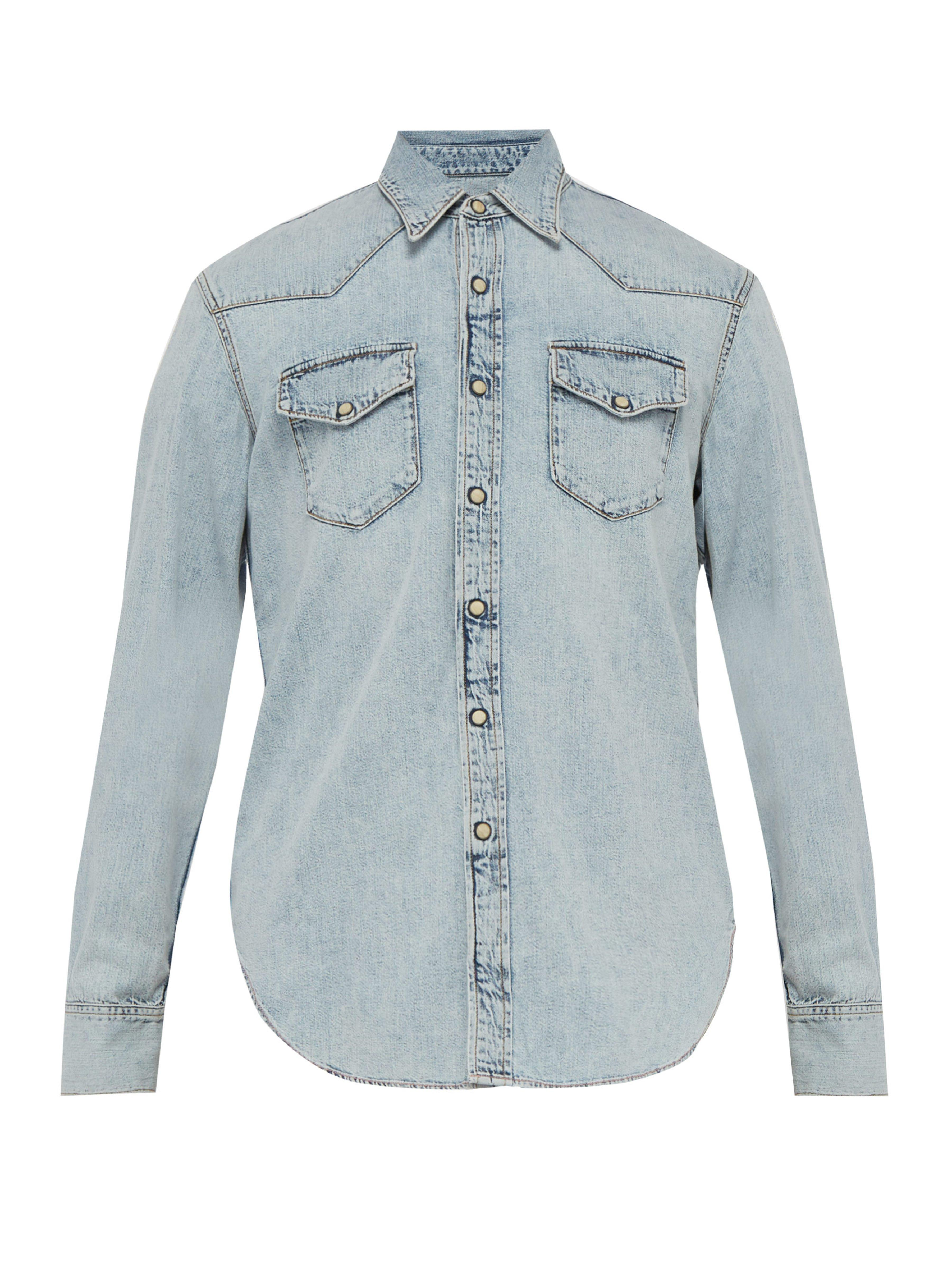bd8497cde9 Acne Studios Marble Wash Denim Shirt in Blue for Men - Lyst