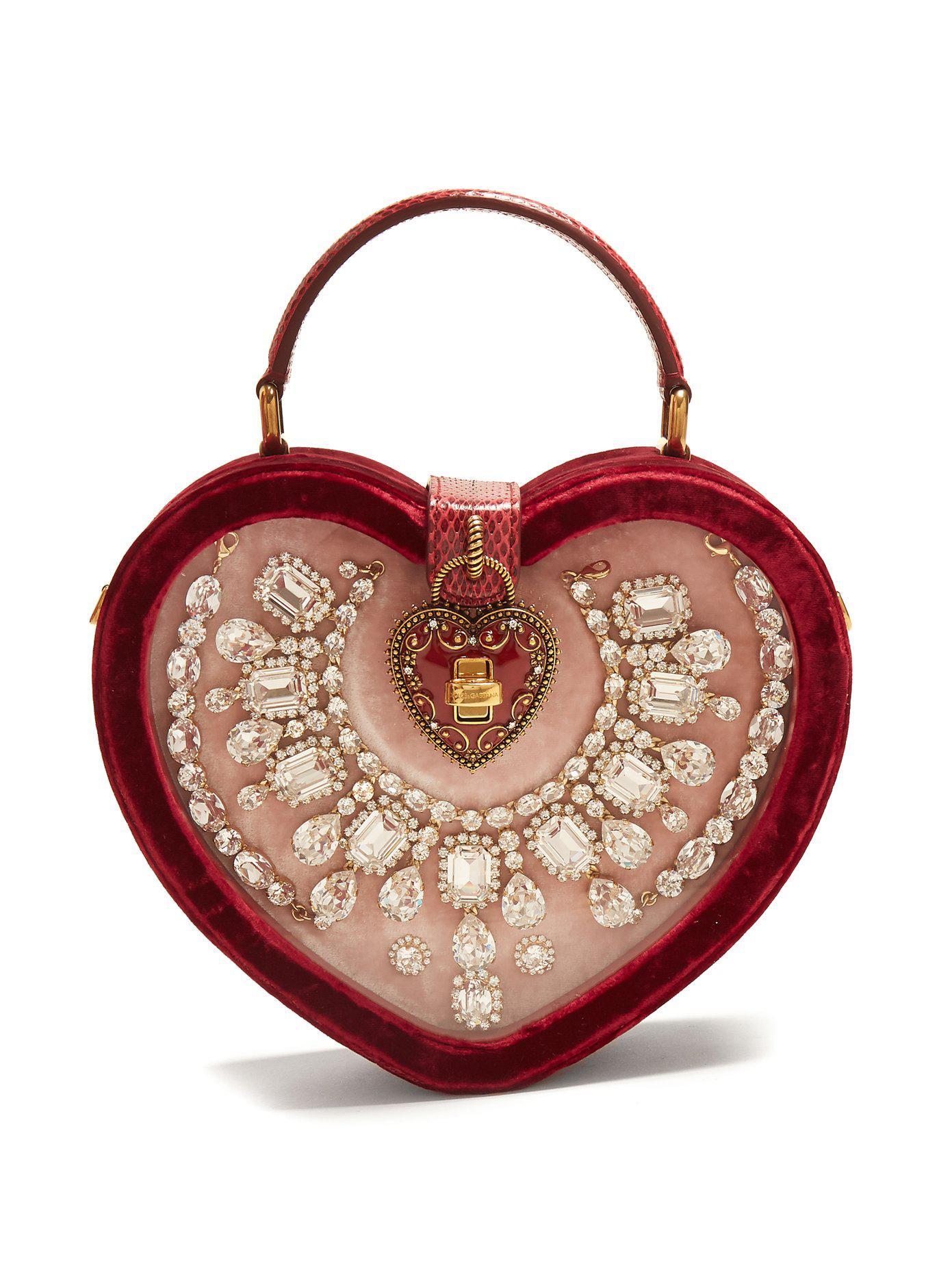 Cœur Gabbana Lyst Cristaux Coloris Rouge En Sac À Ornements Dolceamp; TPulOkXZwi