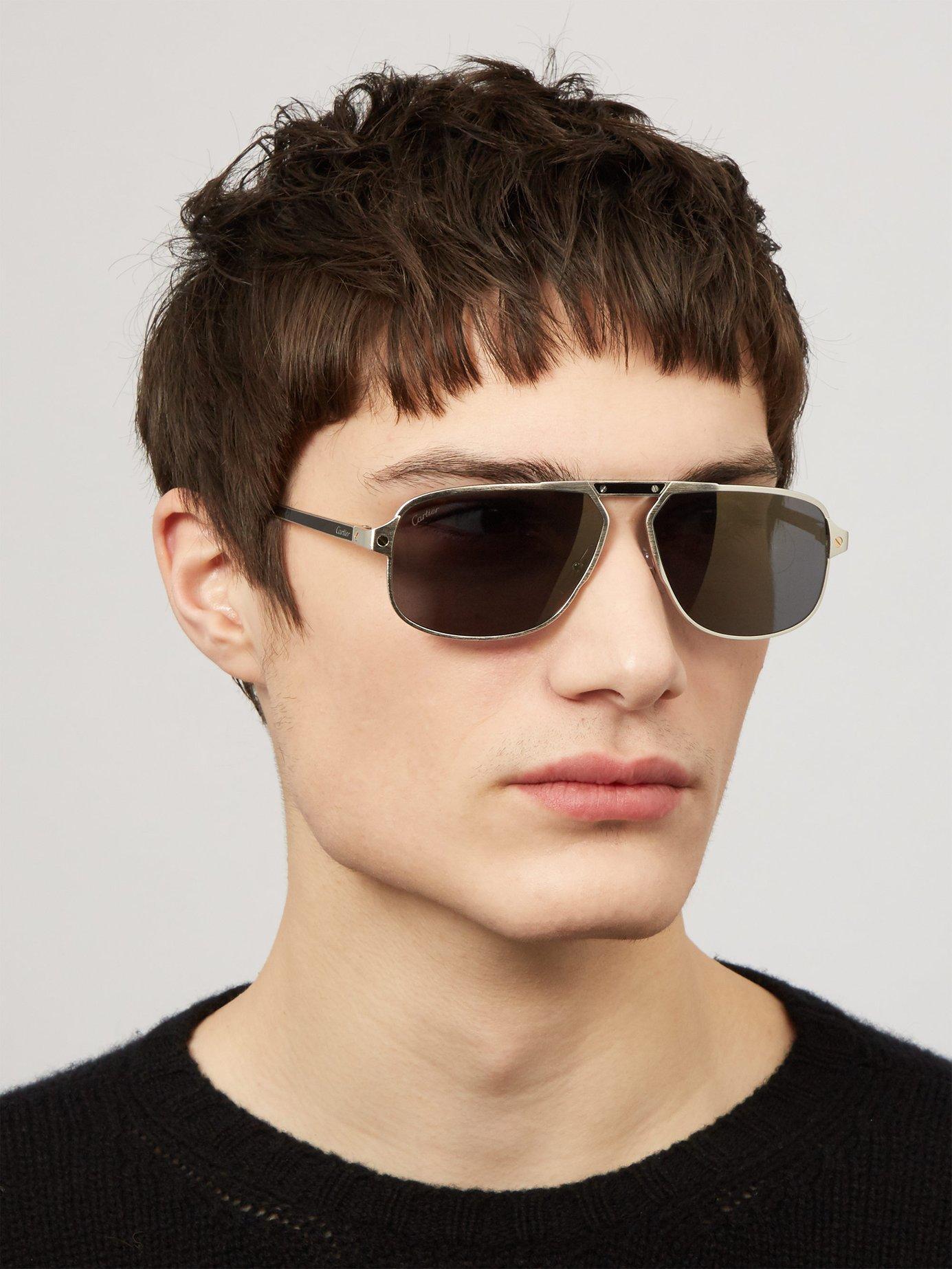 da99a3d1c8 Cartier - Metallic Santos De Cartier Aviator Sunglasses for Men - Lyst.  View fullscreen