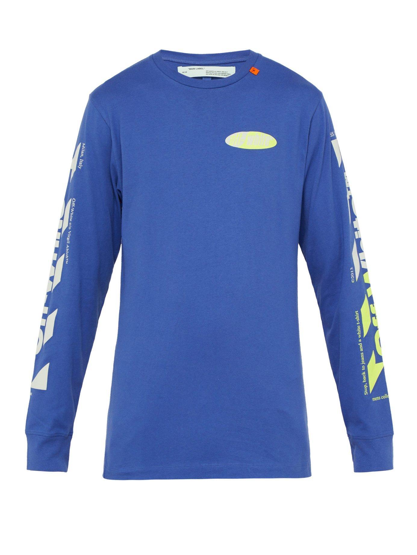 b7fae7ab4758ce Lyst - Off-White c o Virgil Abloh Logo Print Cotton T Shirt in Blue ...
