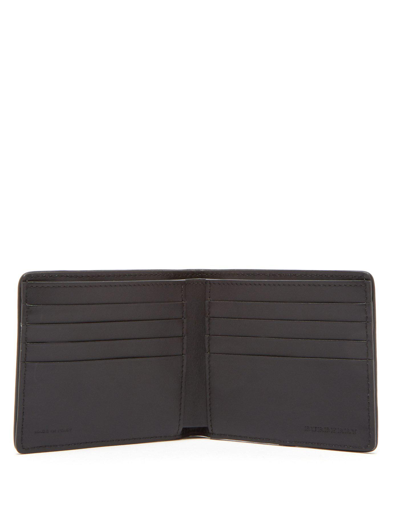 4c2e82495cc2 Lyst - Burberry Haymarket Check Bi Fold Wallet in Black for Men - Save 75%