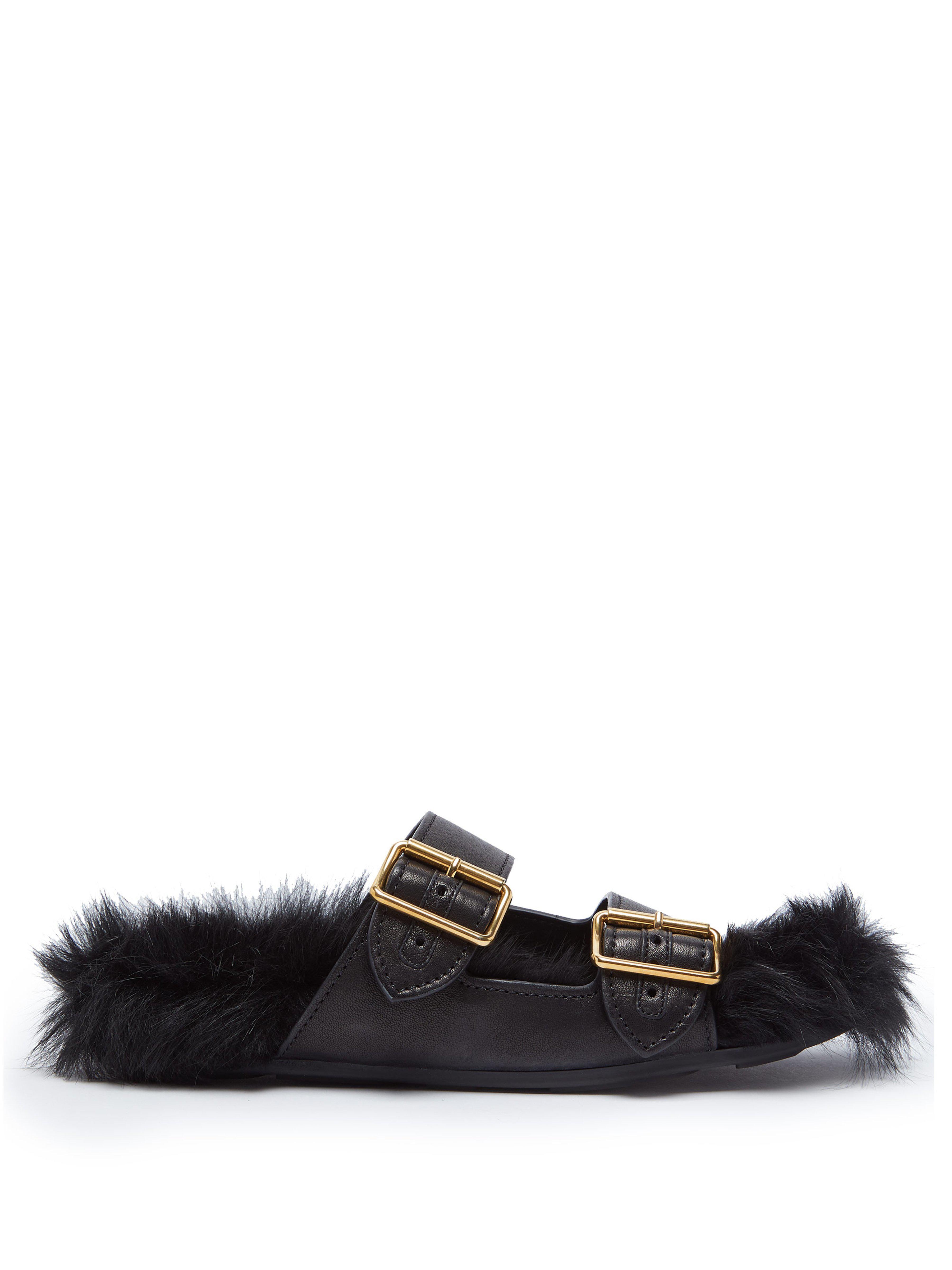 1f63db2dd87 Prada Shearling Lined Leather Sandals in Black - Lyst