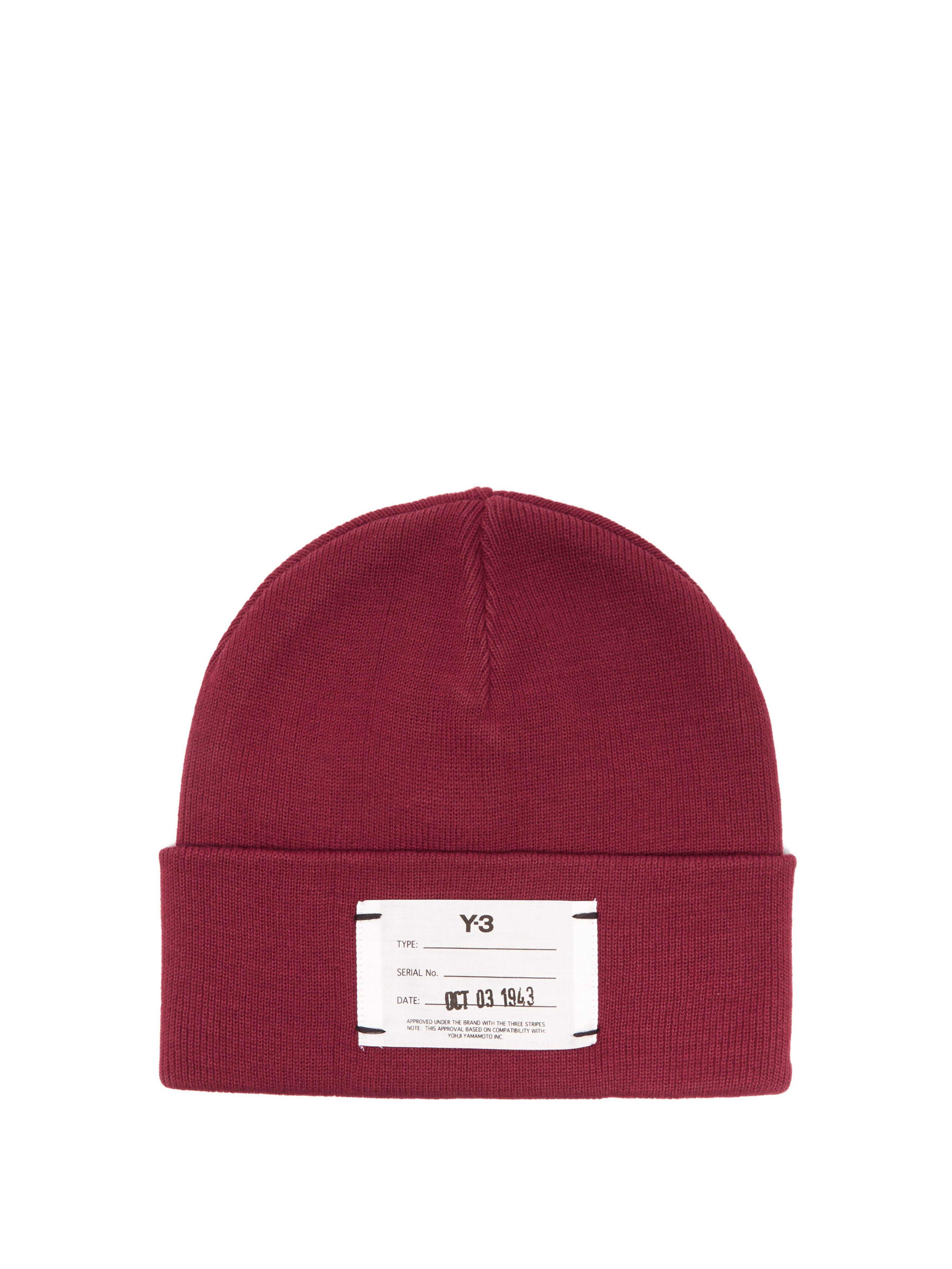 a1d75487a4c Y-3 Logo Ribbed Cotton Beanie Hat in Red for Men - Lyst