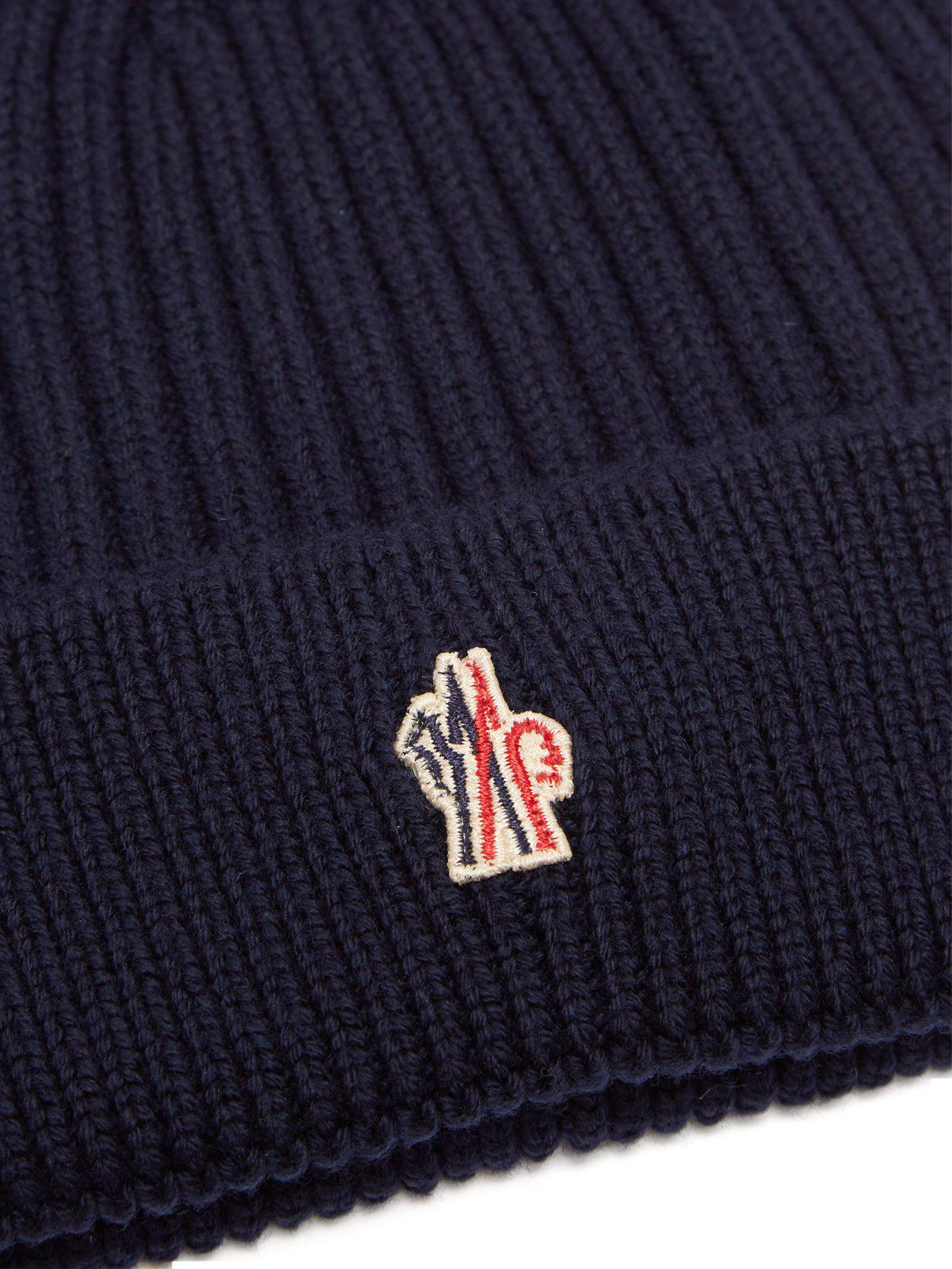 4027609aa40 Lyst - Moncler Grenoble Logo Embroidered Wool Beanie Hat in Blue for Men