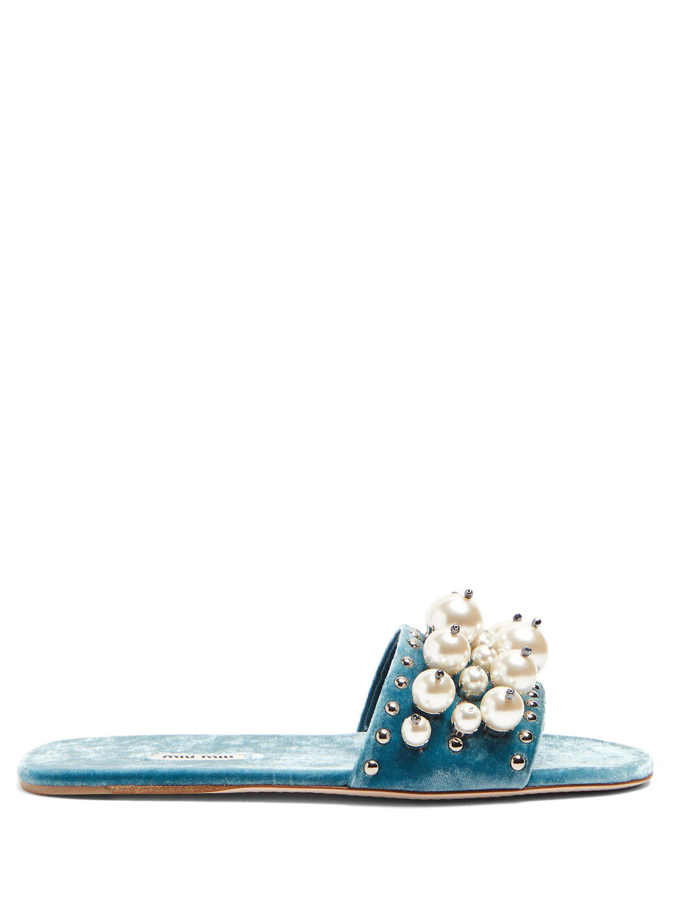 809674d08367 Lyst - Miu Miu Faux Pearl Embellished Velvet Slides in Blue - Save 67%